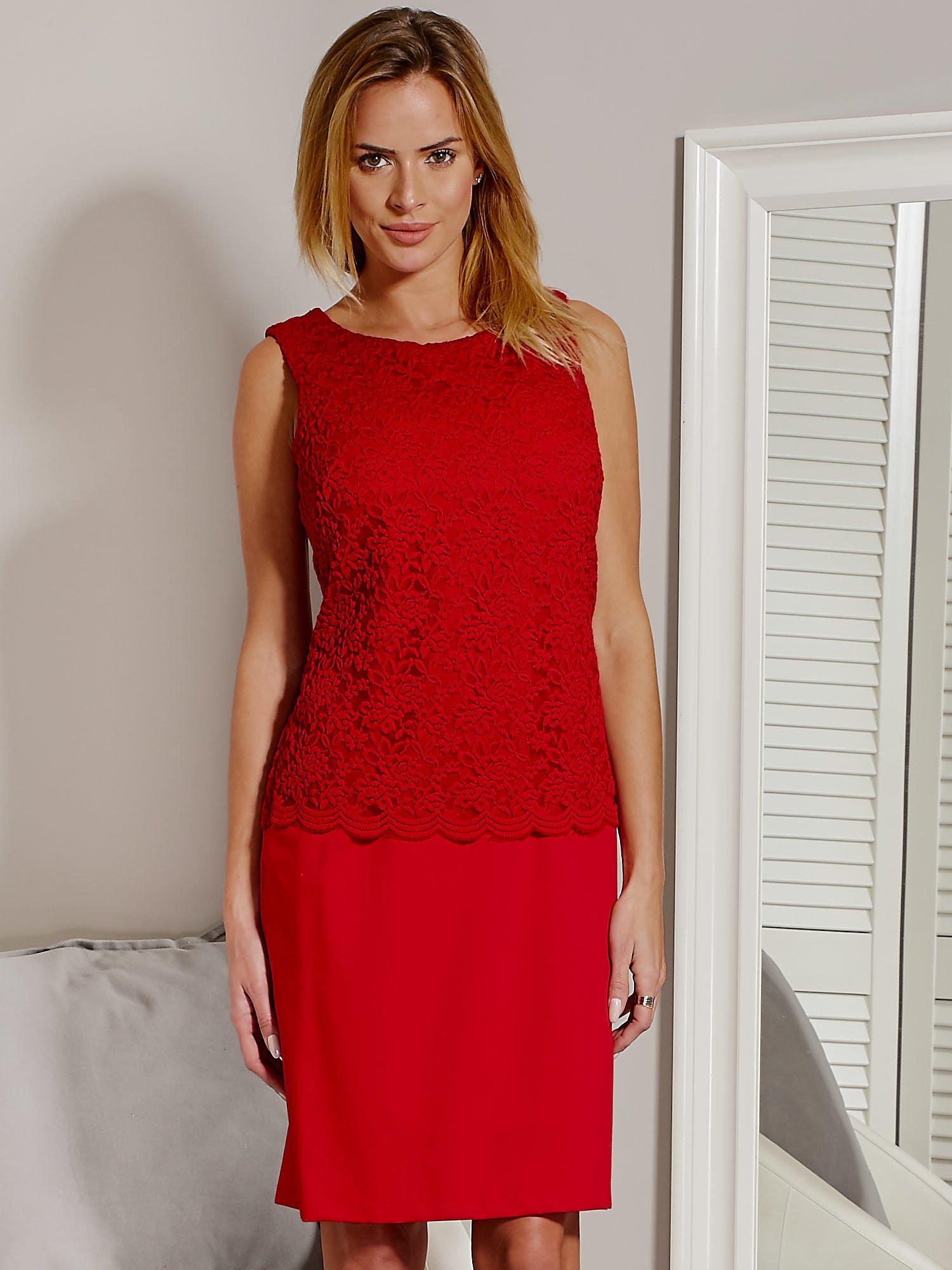037b4c112a Sukienka z koronkową górą czerwona - Sukienka koktajlowa - sklep ...