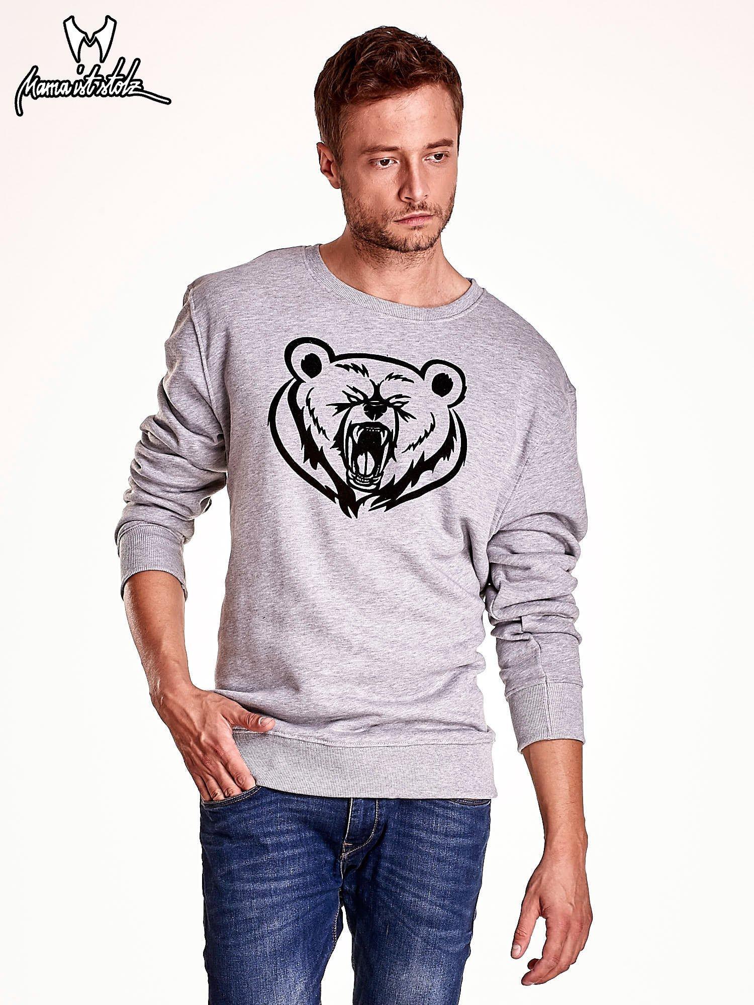 Szara bluza męska z niedźwiedziem                                  zdj.                                  2