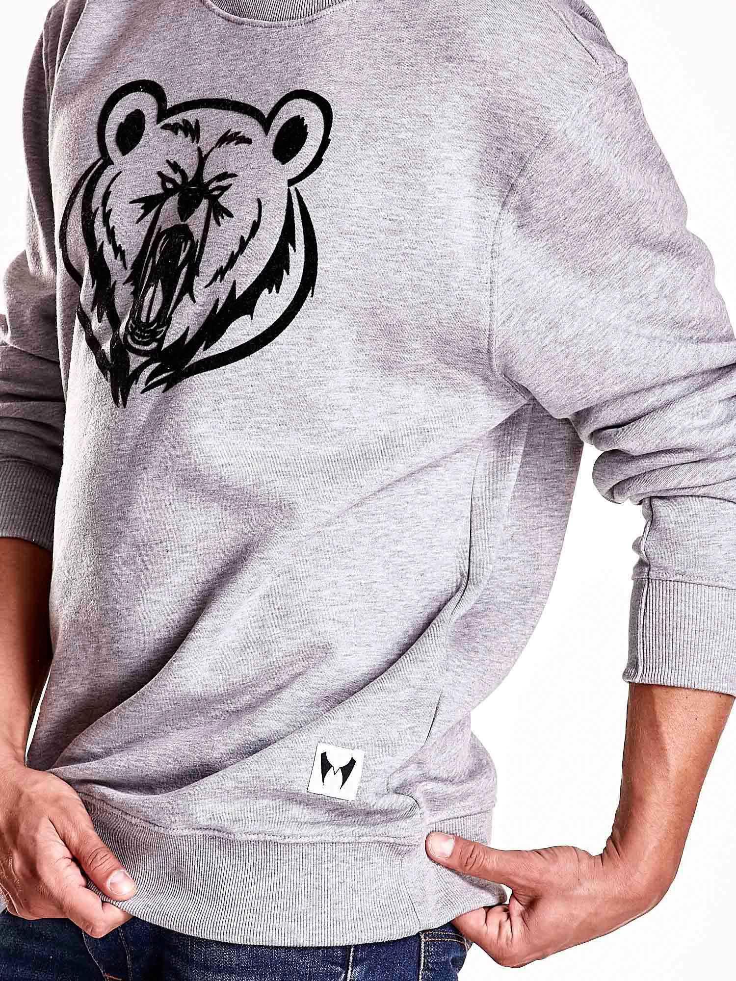 Szara bluza męska z niedźwiedziem                                  zdj.                                  6