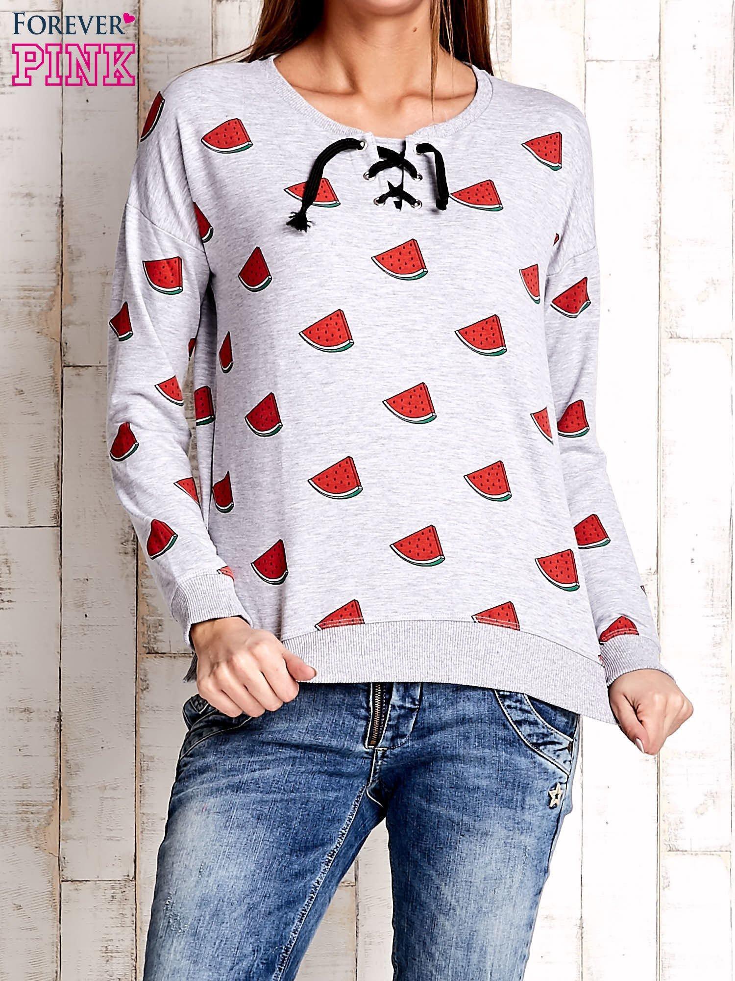 Szara bluza w arbuzy z wiązaniem                                  zdj.                                  1