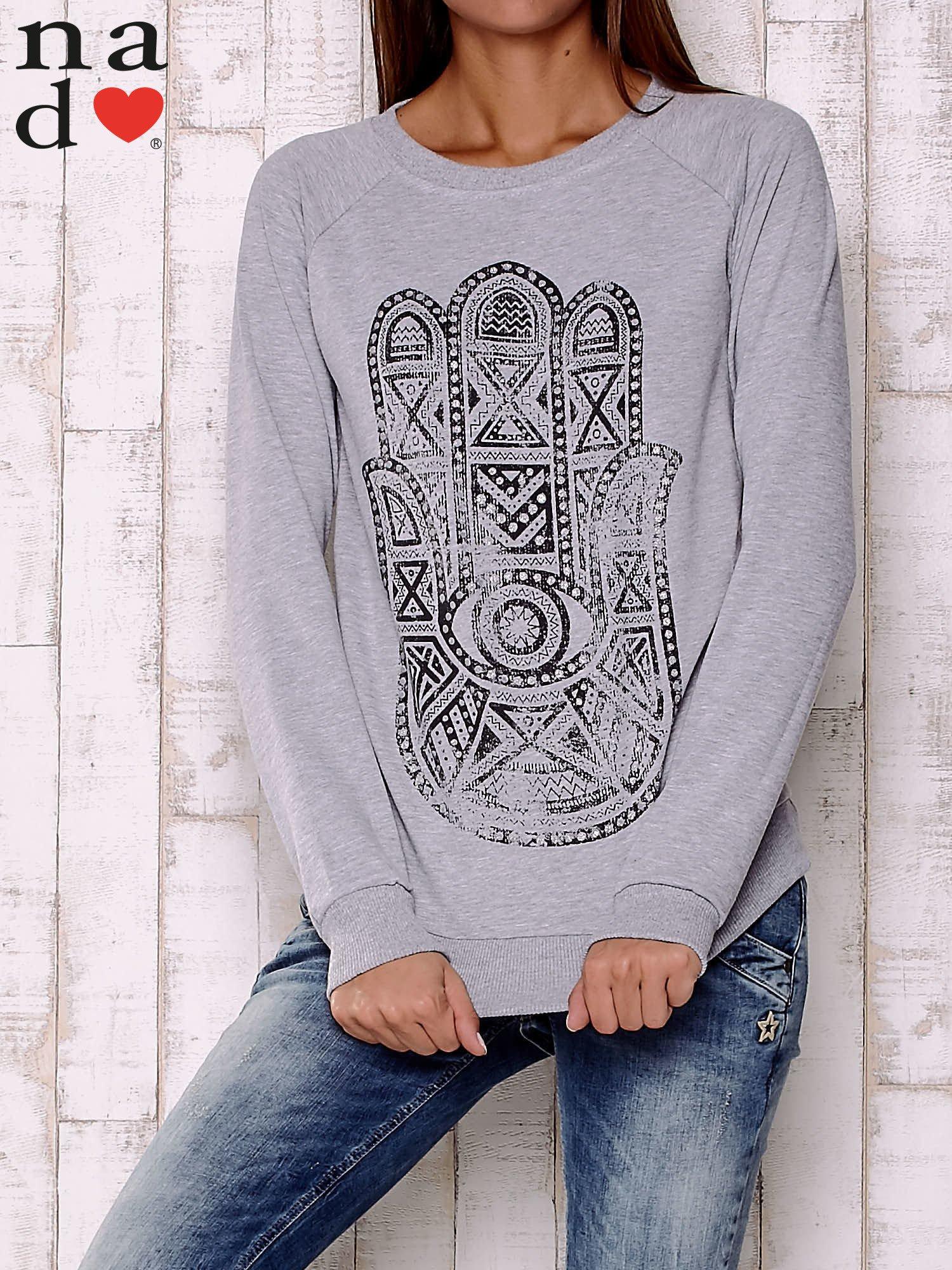 Szara bluza z motywem dłoni                                  zdj.                                  1