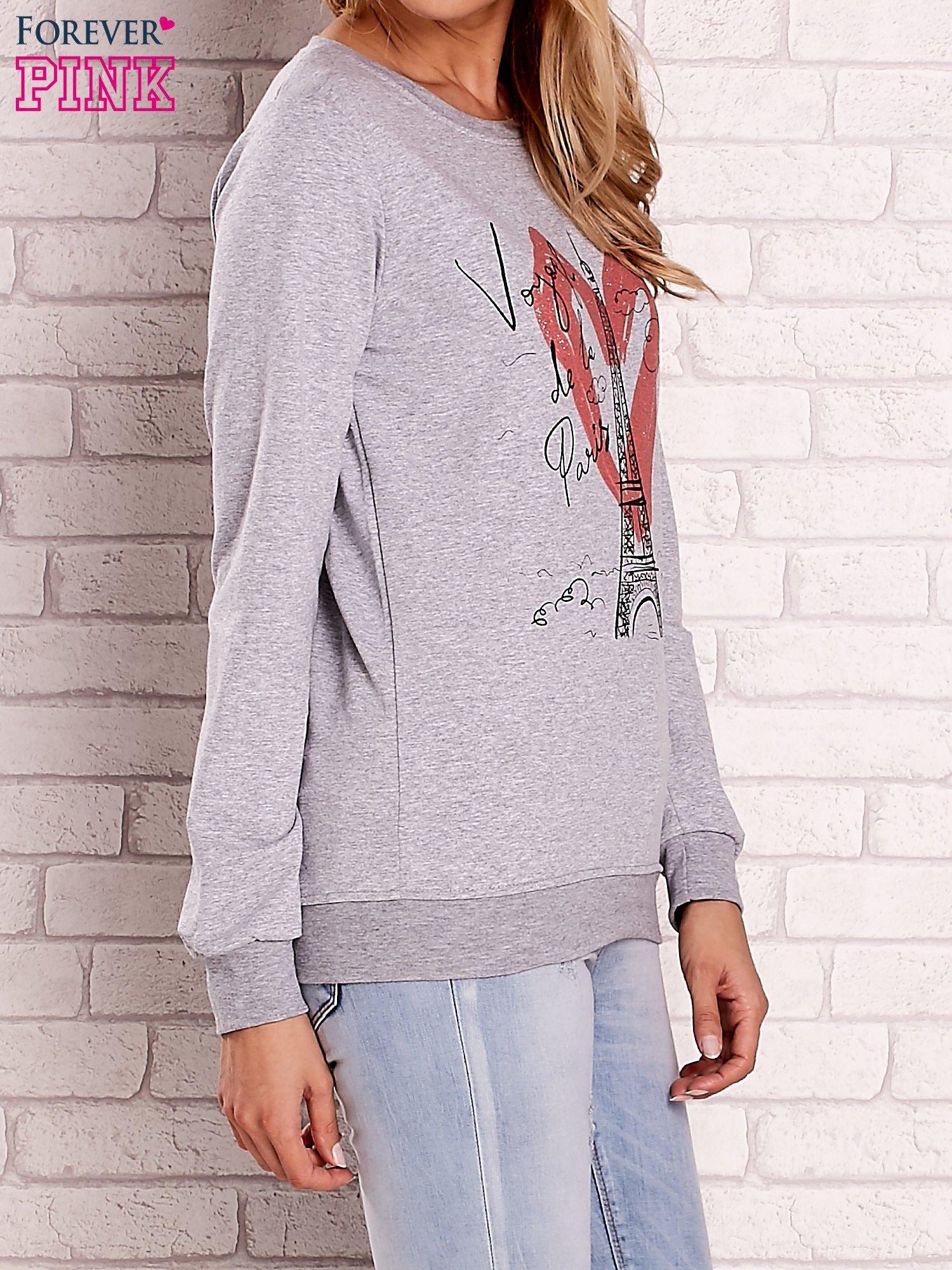 Szara bluza z motywem paryskim                                  zdj.                                  4