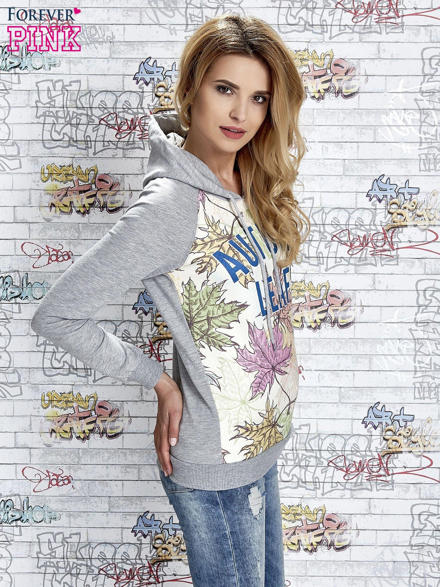 Szara bluza z nadrukiem liści i napisem AUTUMN LEAFS                                  zdj.                                  3