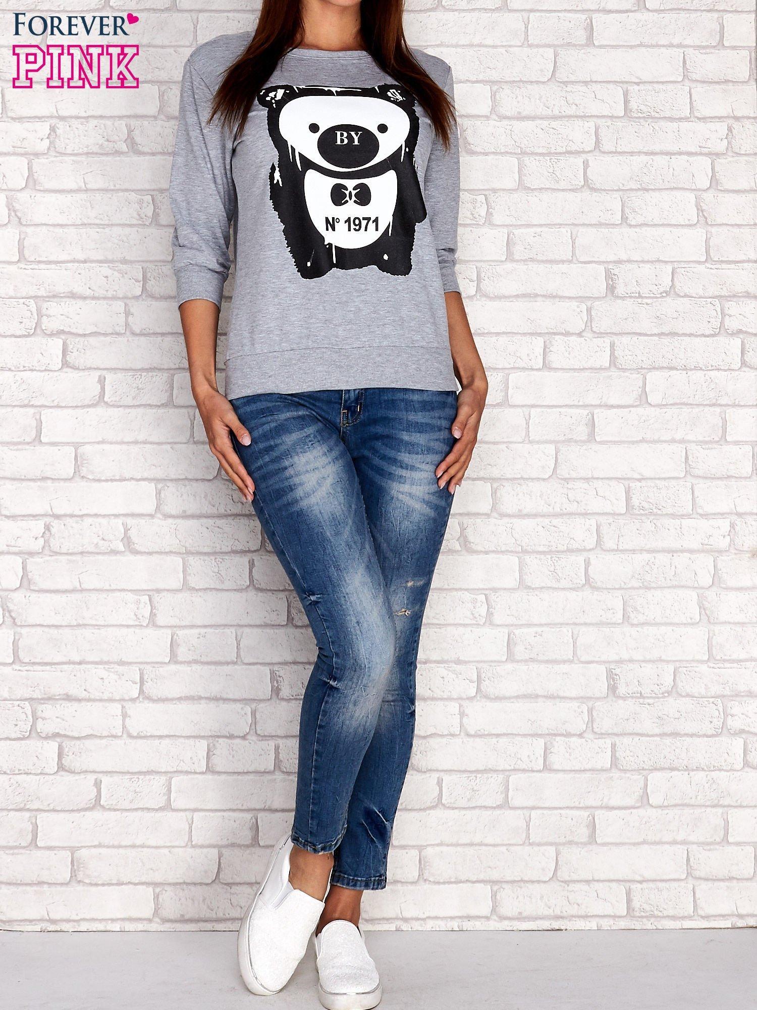 Szara bluza z nadrukiem pandy                                  zdj.                                  4