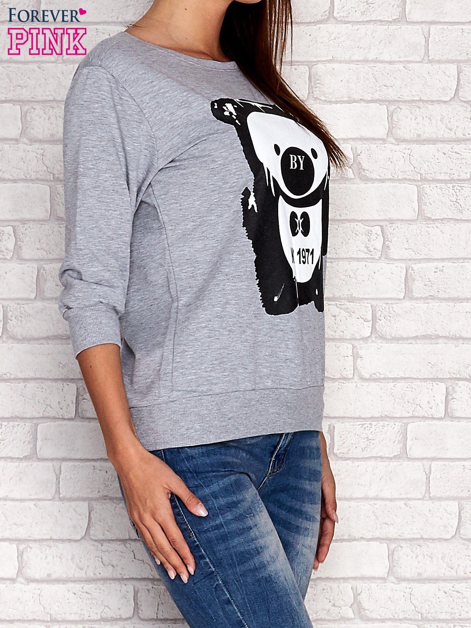 Szara bluza z nadrukiem pandy                                  zdj.                                  3