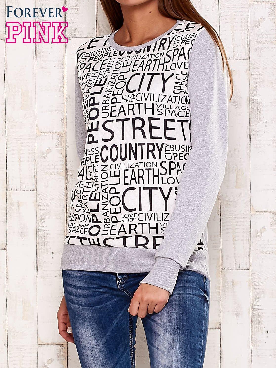 Szara bluza z tekstowym nadrukiem                                  zdj.                                  1