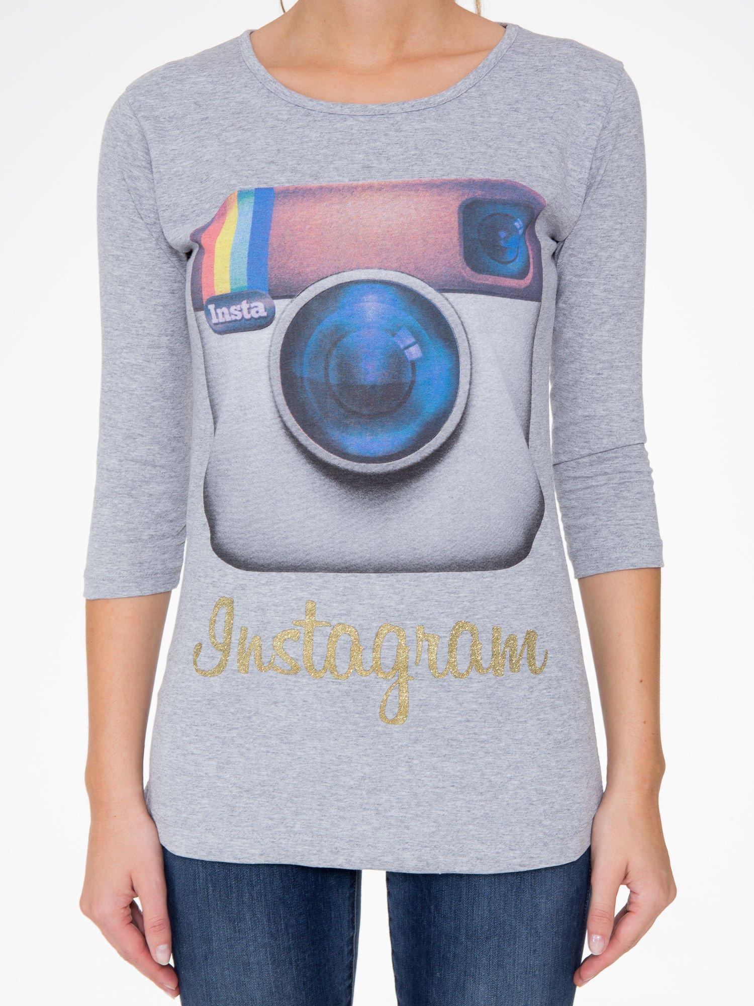 Szara bluzka z nadrukiem loga Instagrama                                  zdj.                                  7