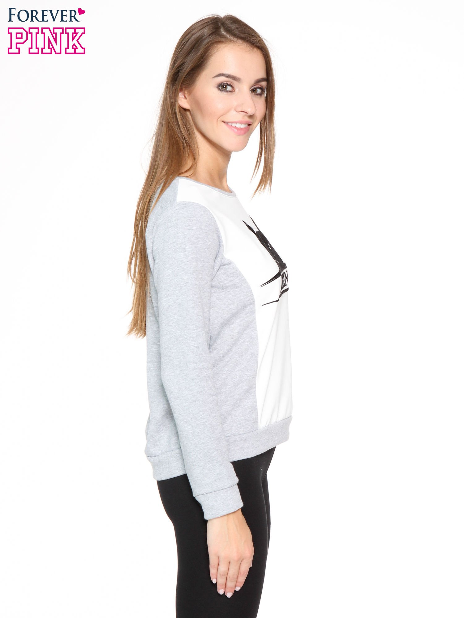 Szara dresowa bluza z nadrukiem kota i napisem QUEEN                                  zdj.                                  3