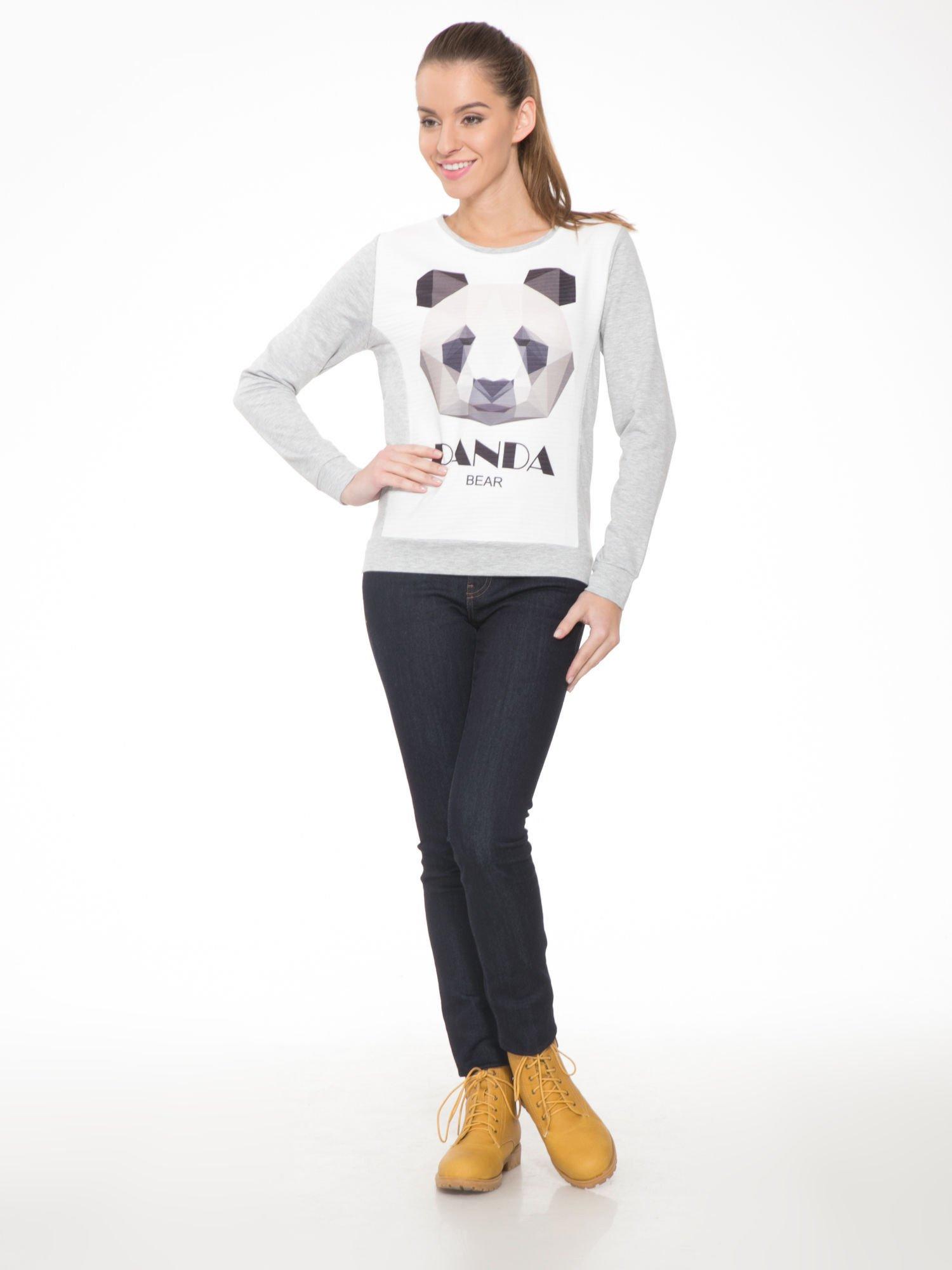 Szara dresowa bluza z nadrukiem pandy                                  zdj.                                  2