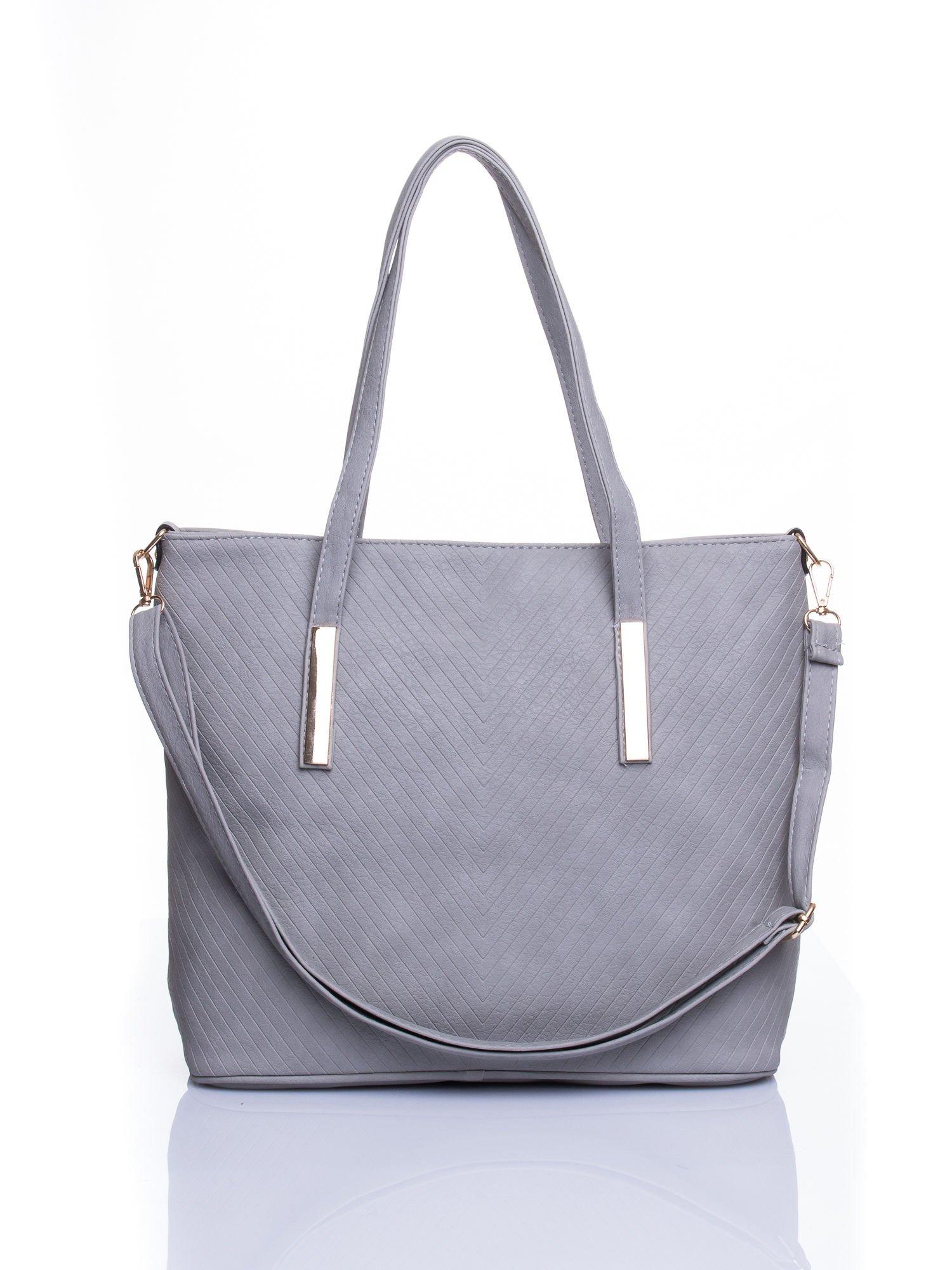 dff4ce9bd5d65 Szara fakturowana torba shopper bag - Akcesoria torba - sklep eButik.pl