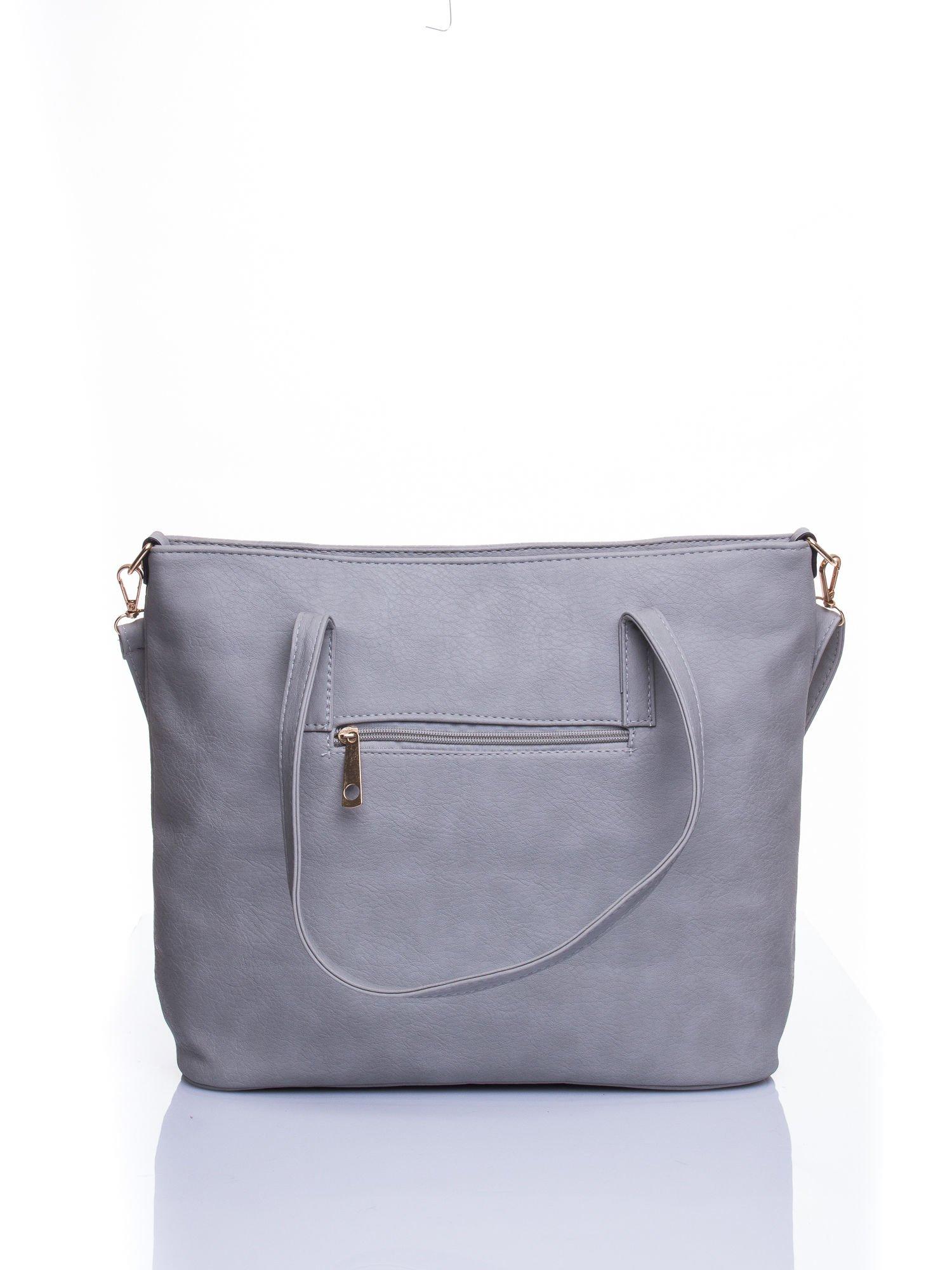 Szara fakturowana torba shopper bag                                  zdj.                                  3
