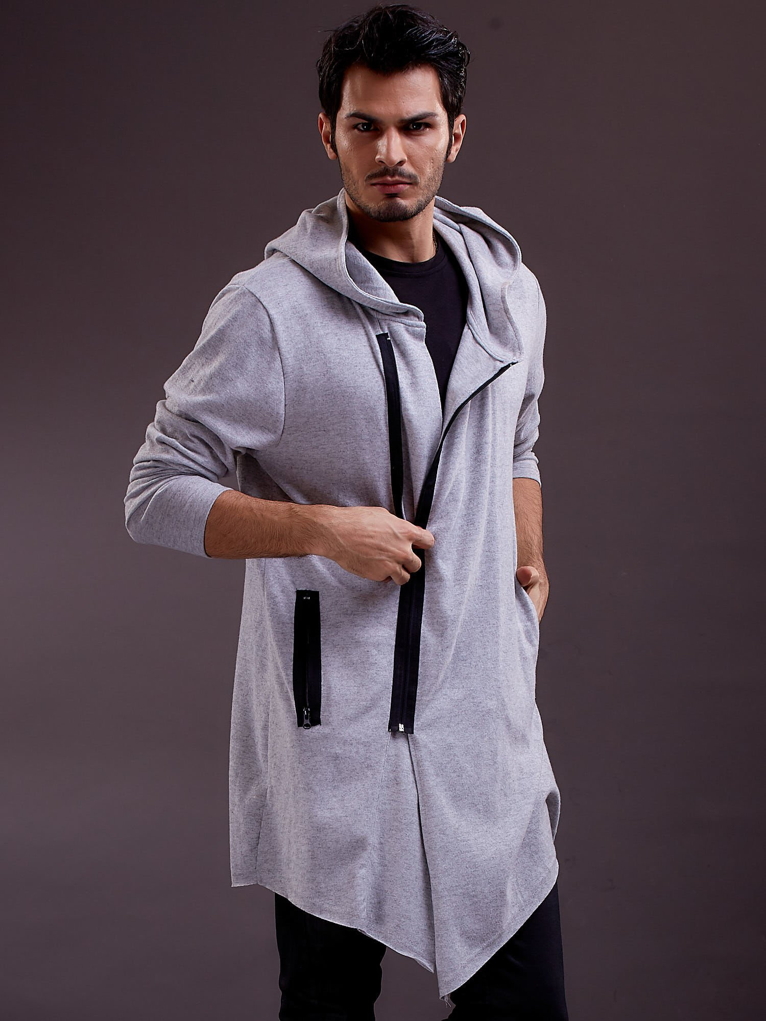 b3a201f181 Szara melanżowa bluza męska z asymetrycznym suwakiem - Mężczyźni ...