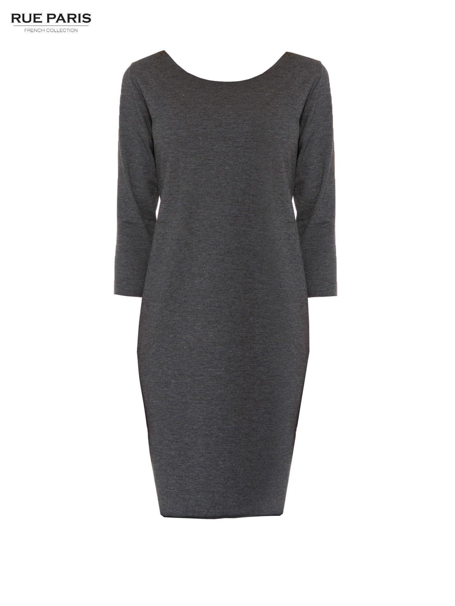 Szara prosta sukienka z surowym wykończeniem i kieszeniami                                  zdj.                                  5