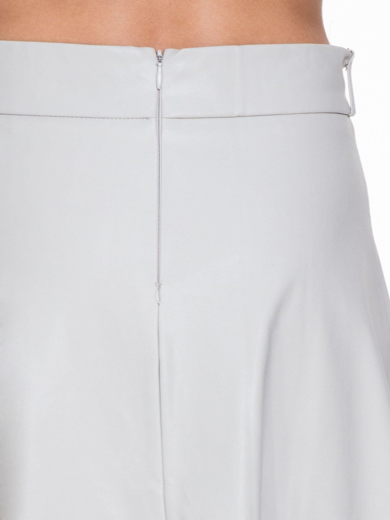 Szara skórzana spódnica midi szyta z półkola                                  zdj.                                  6