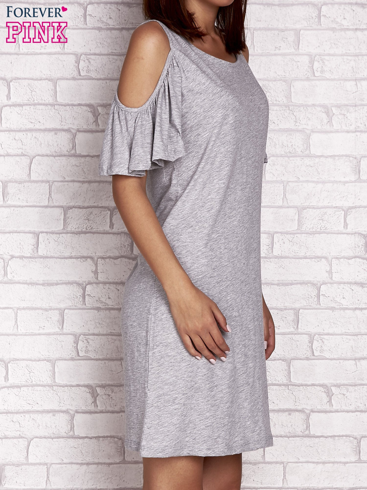 Szara sukienka z rękawami cut out                                  zdj.                                  3