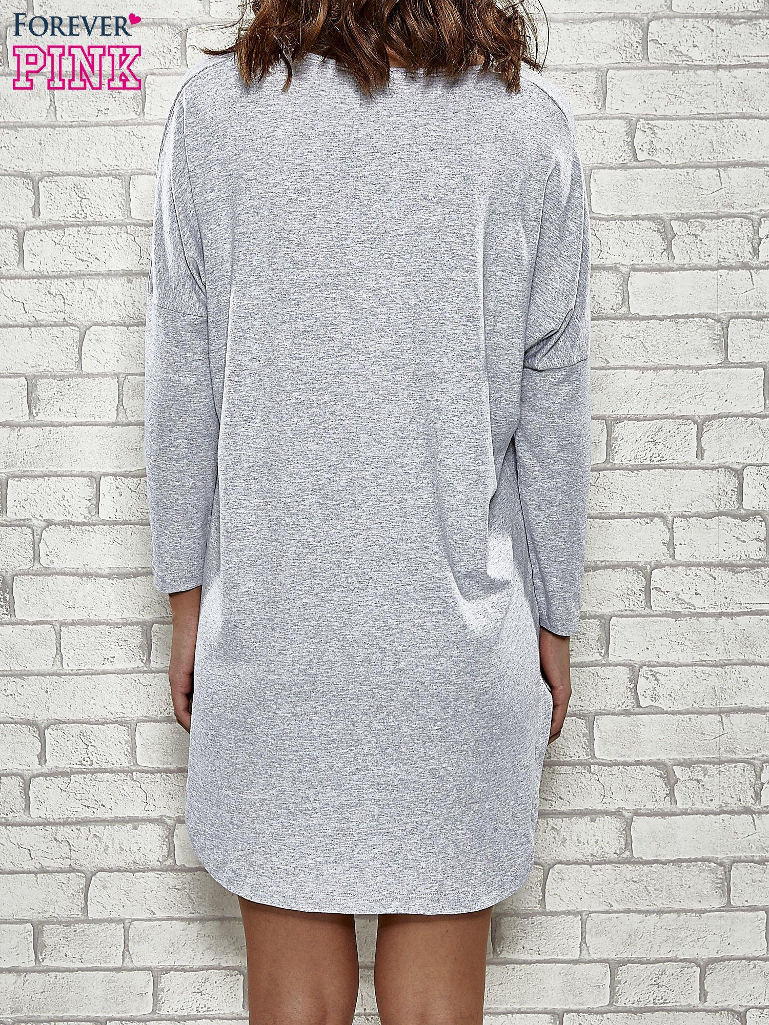 Szara sukienka z rozporkami po bokach                                  zdj.                                  4