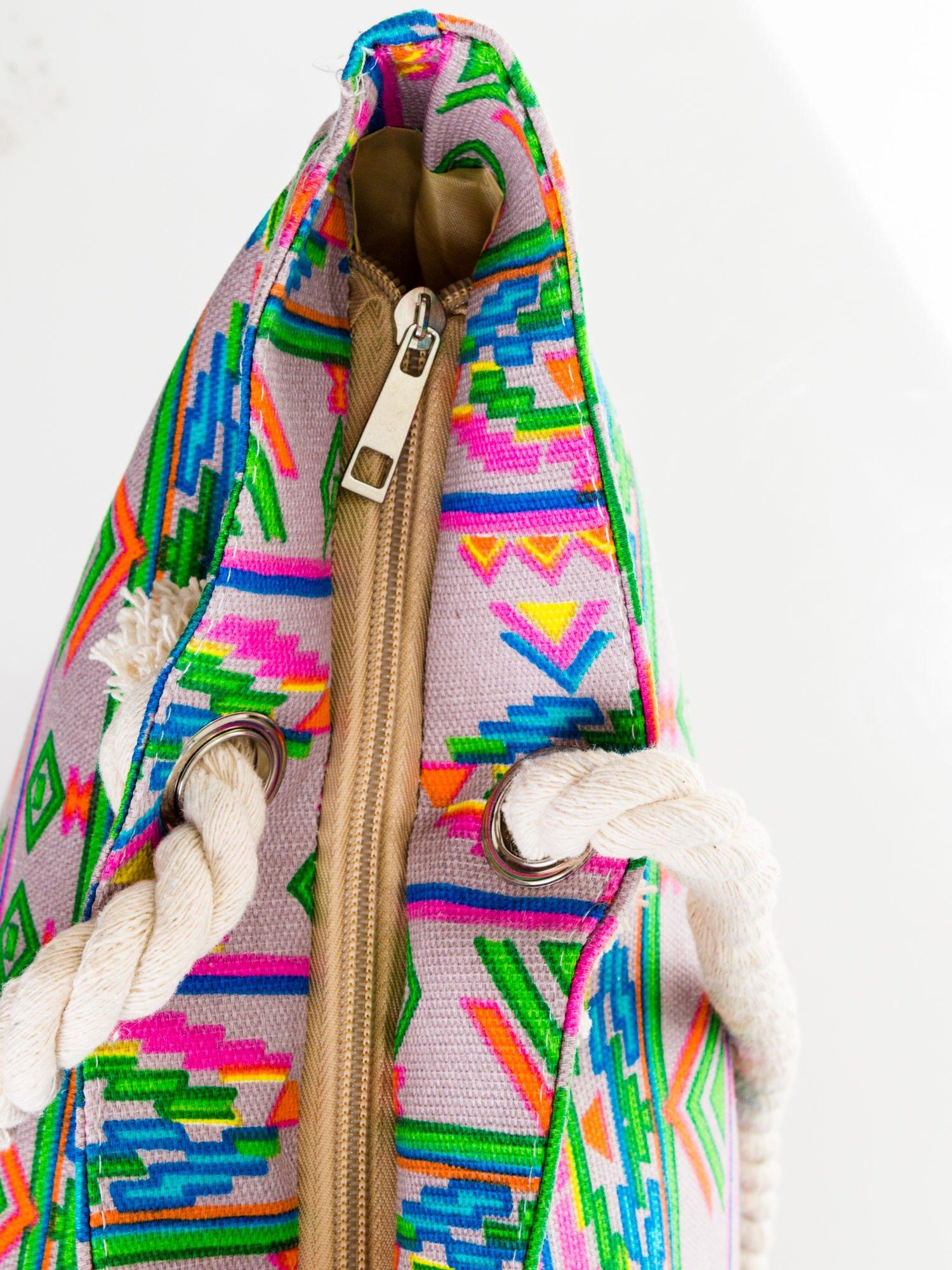Szara torba plażowa w azteckie wzory                                  zdj.                                  7