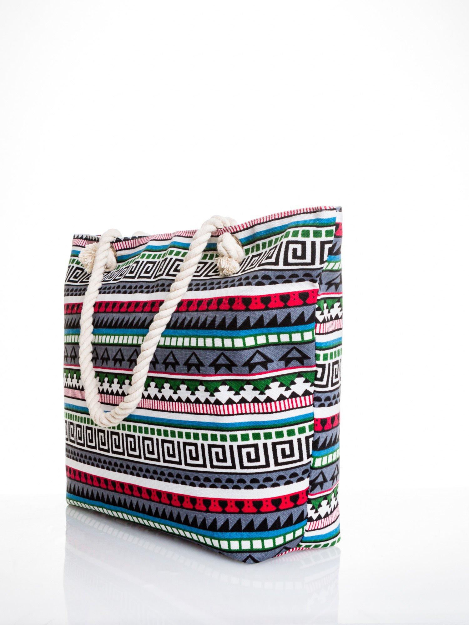 Szara torba plażowa w azteckie wzory                                  zdj.                                  4