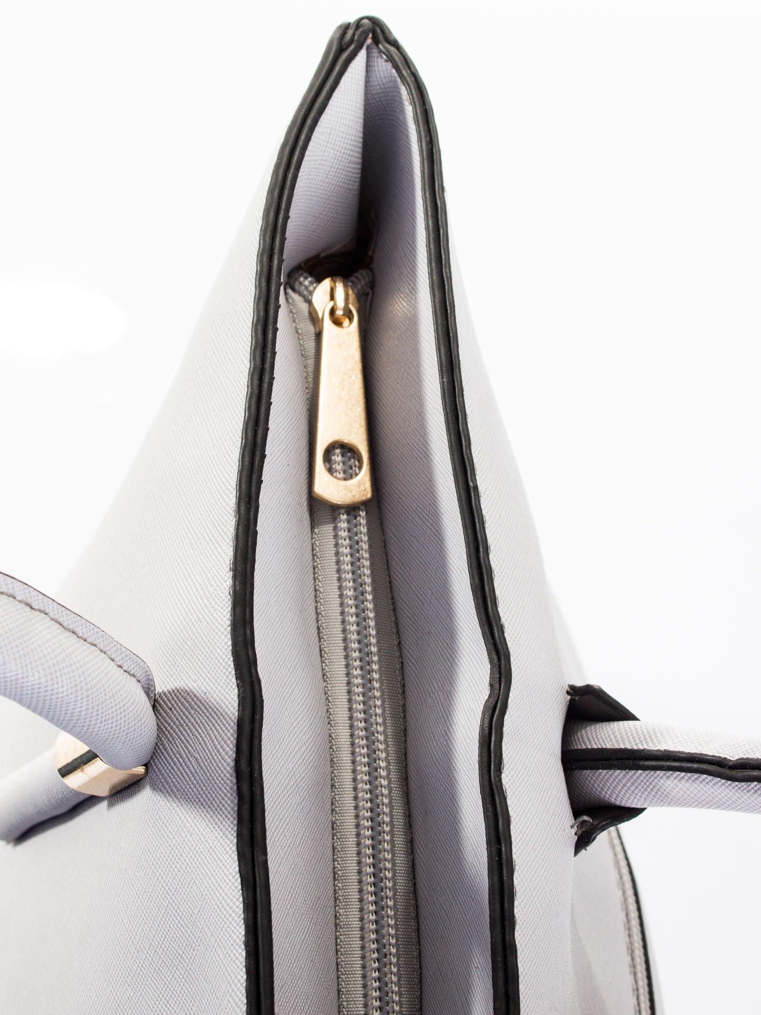 Szara torba shopper efekt saffiano                                  zdj.                                  8