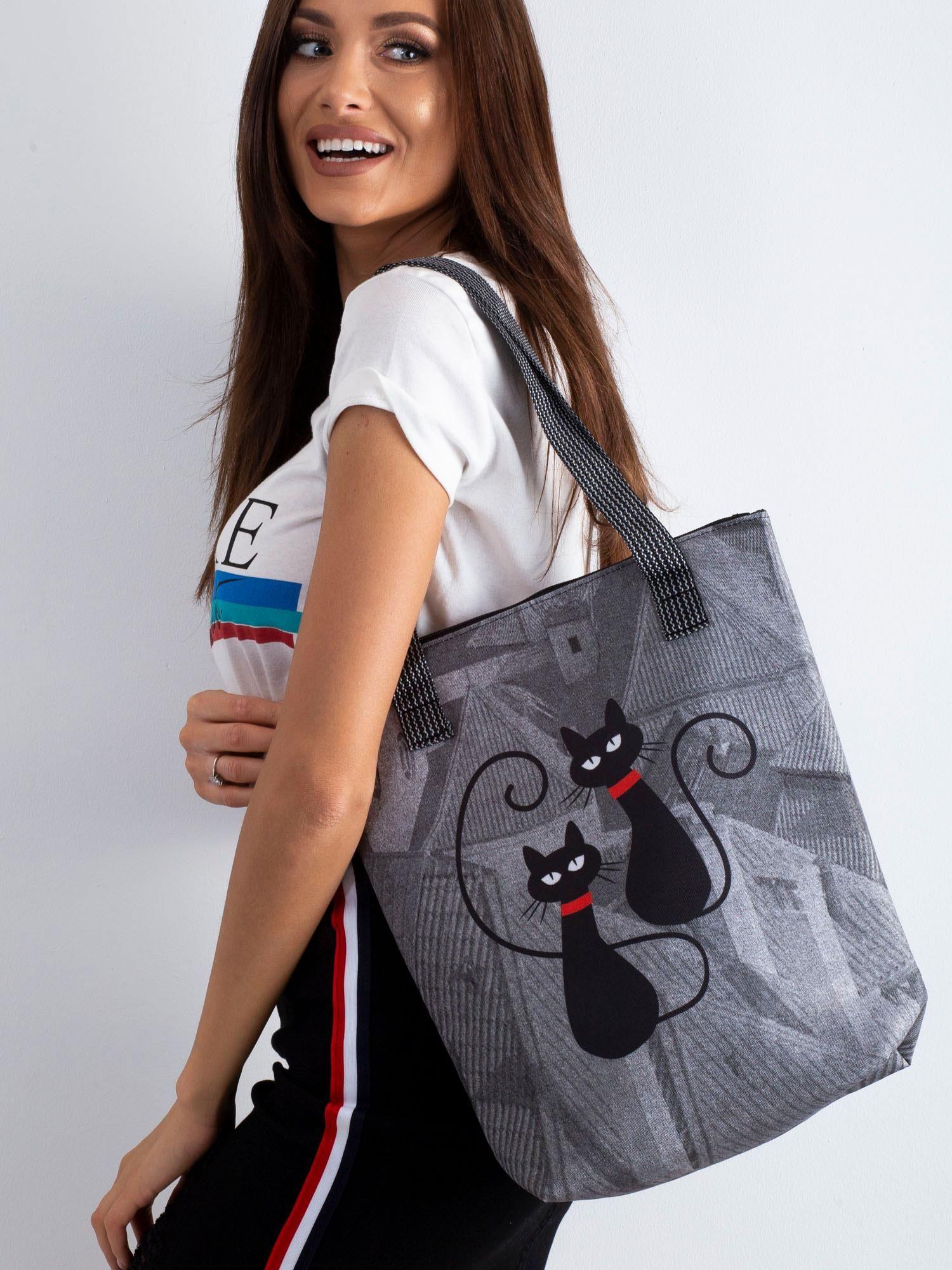5793638c41a9b Szara torba z dwustronnym nadrukiem - Akcesoria torba - sklep eButik.pl