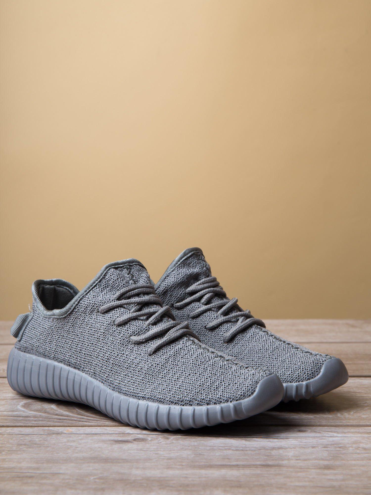 Szare buty sportowe z tkaniny textile Be Active z uchwytem z tyłu                                  zdj.                                  3