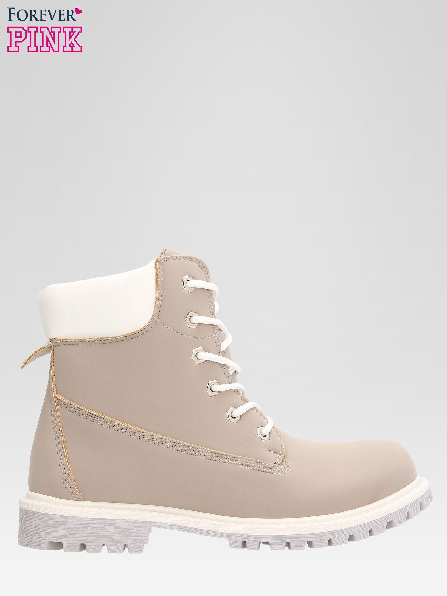 Szare buty trekkingowe damskie traperki                                  zdj.                                  1
