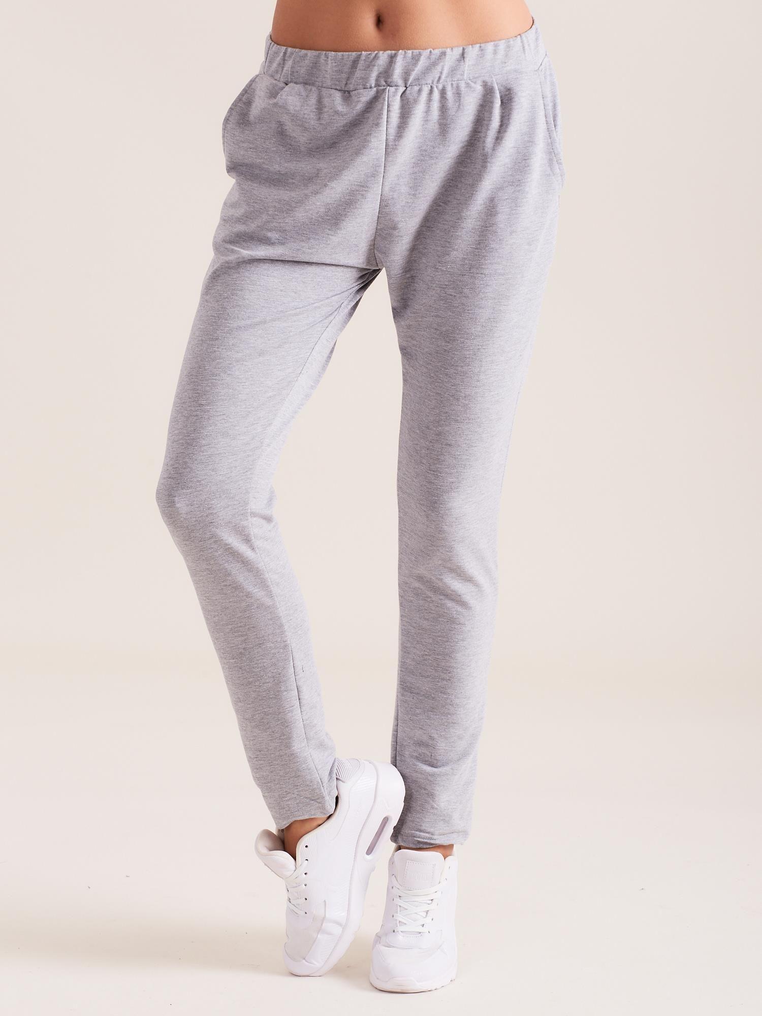 00b5d375 Szare damskie bawełniane spodnie dresowe