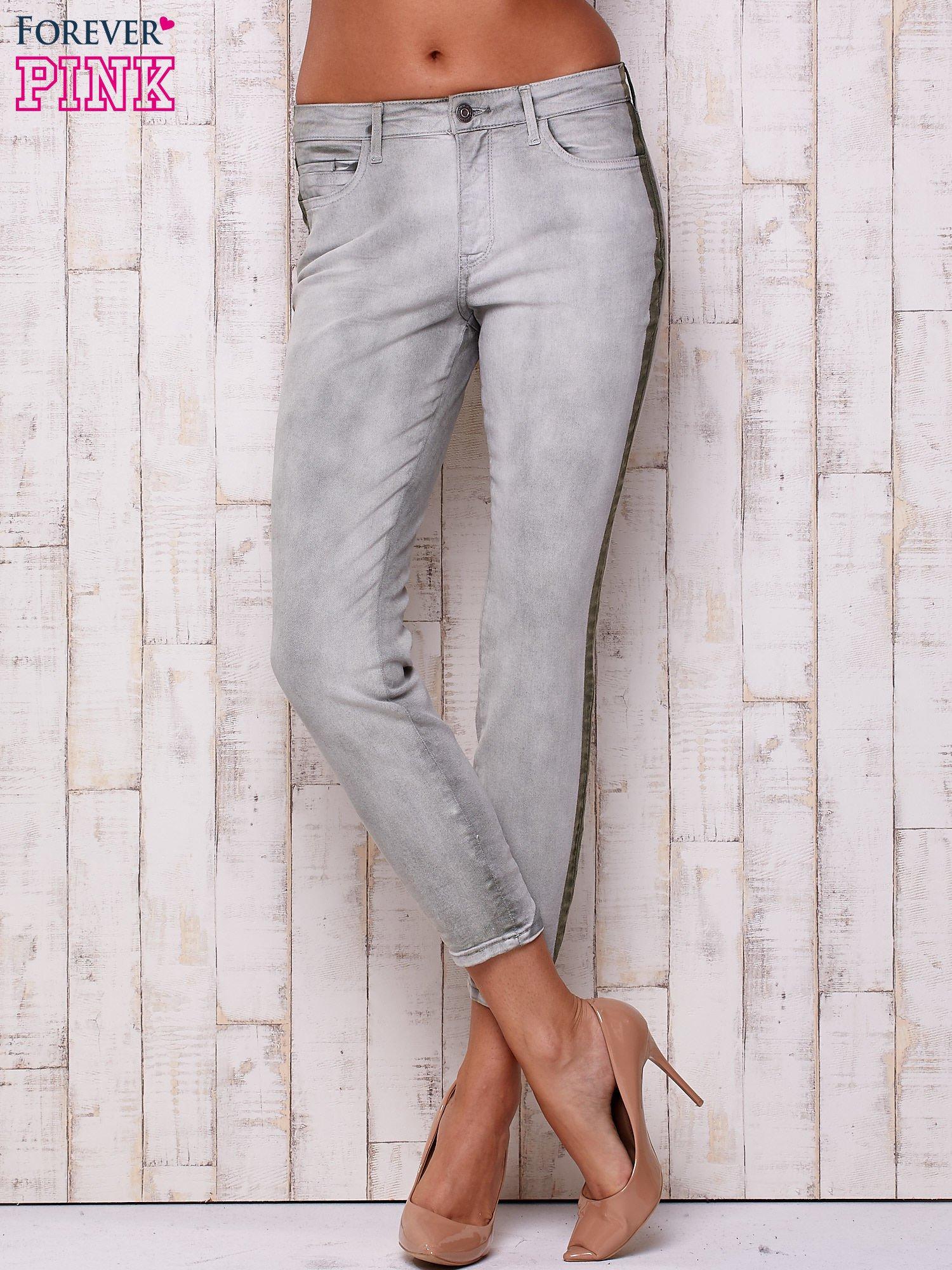 Szare jeansowe spodnie z efektem wytarcia PLUS SIZE                                  zdj.                                  1