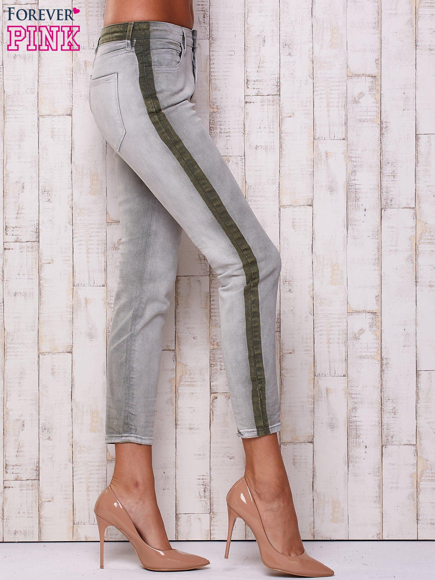 Szare jeansowe spodnie z efektem wytarcia PLUS SIZE                                  zdj.                                  2