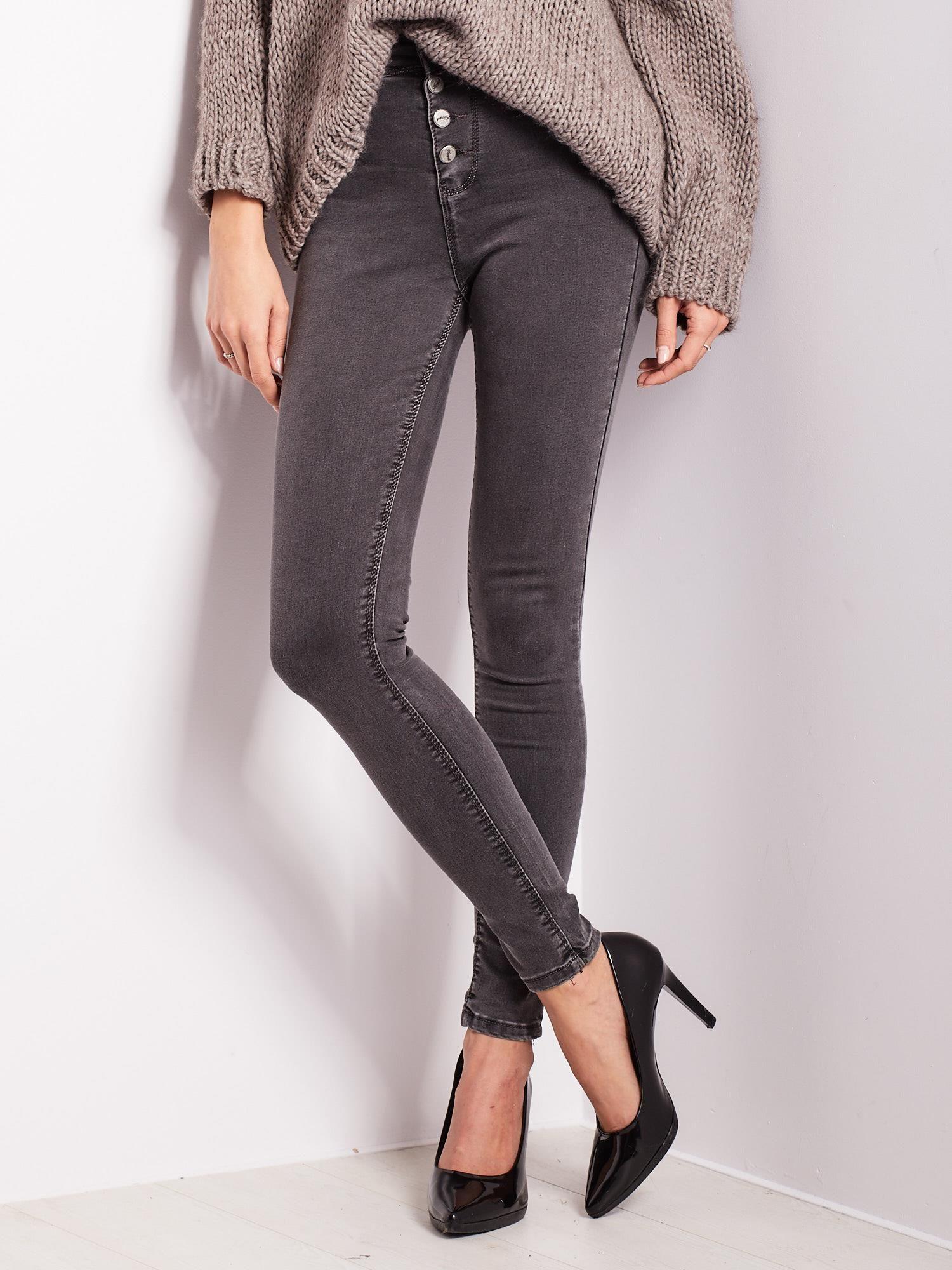 8faf06d9 Szare jeansy skinny fit z wysokim stanem