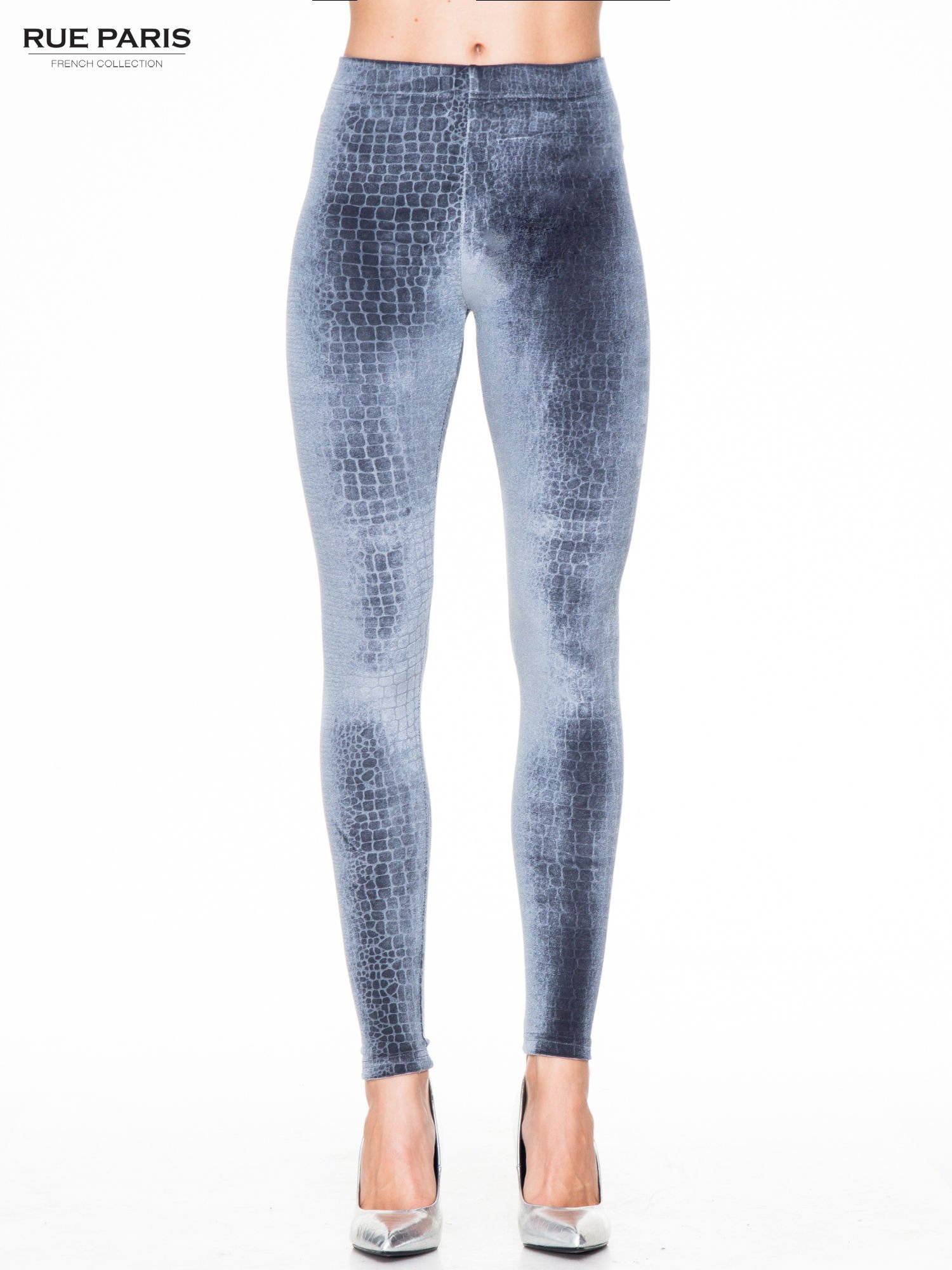Szare legginsy z efektem skóry krokodyla                                  zdj.                                  1