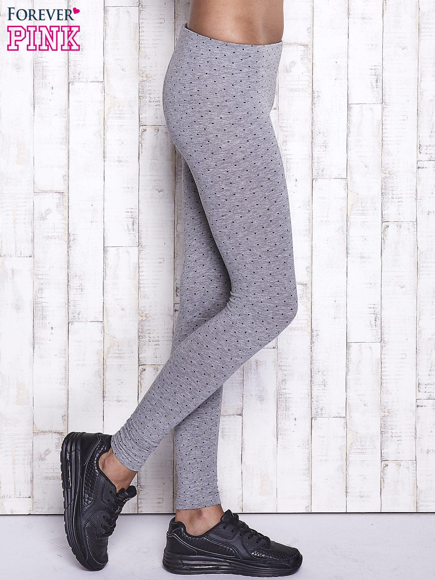 Szare melanżowe legginsy w kropki                                  zdj.                                  2