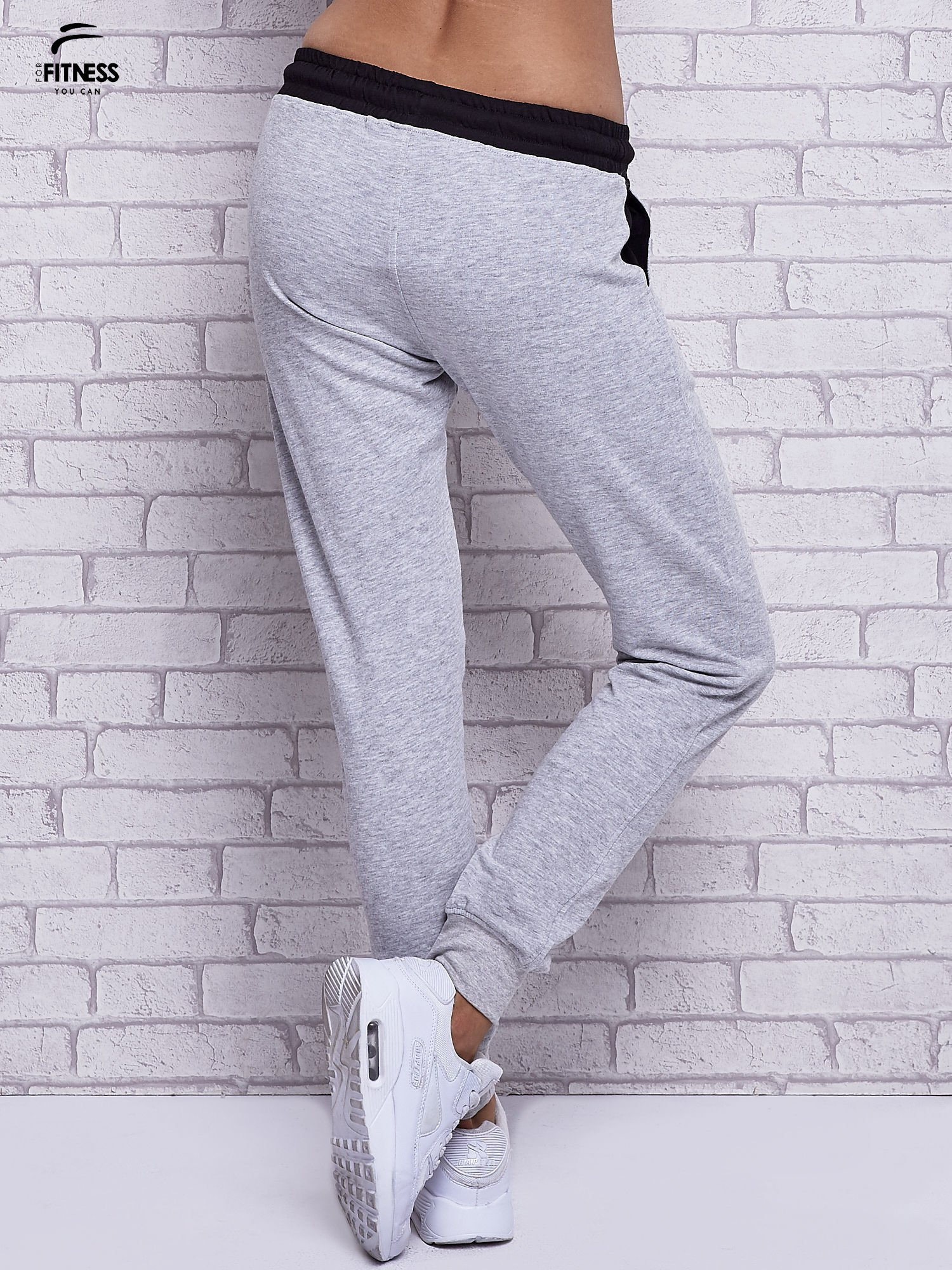 Szare melanżowe spodnie dresowe z czarnymi wstawkami                                  zdj.                                  2