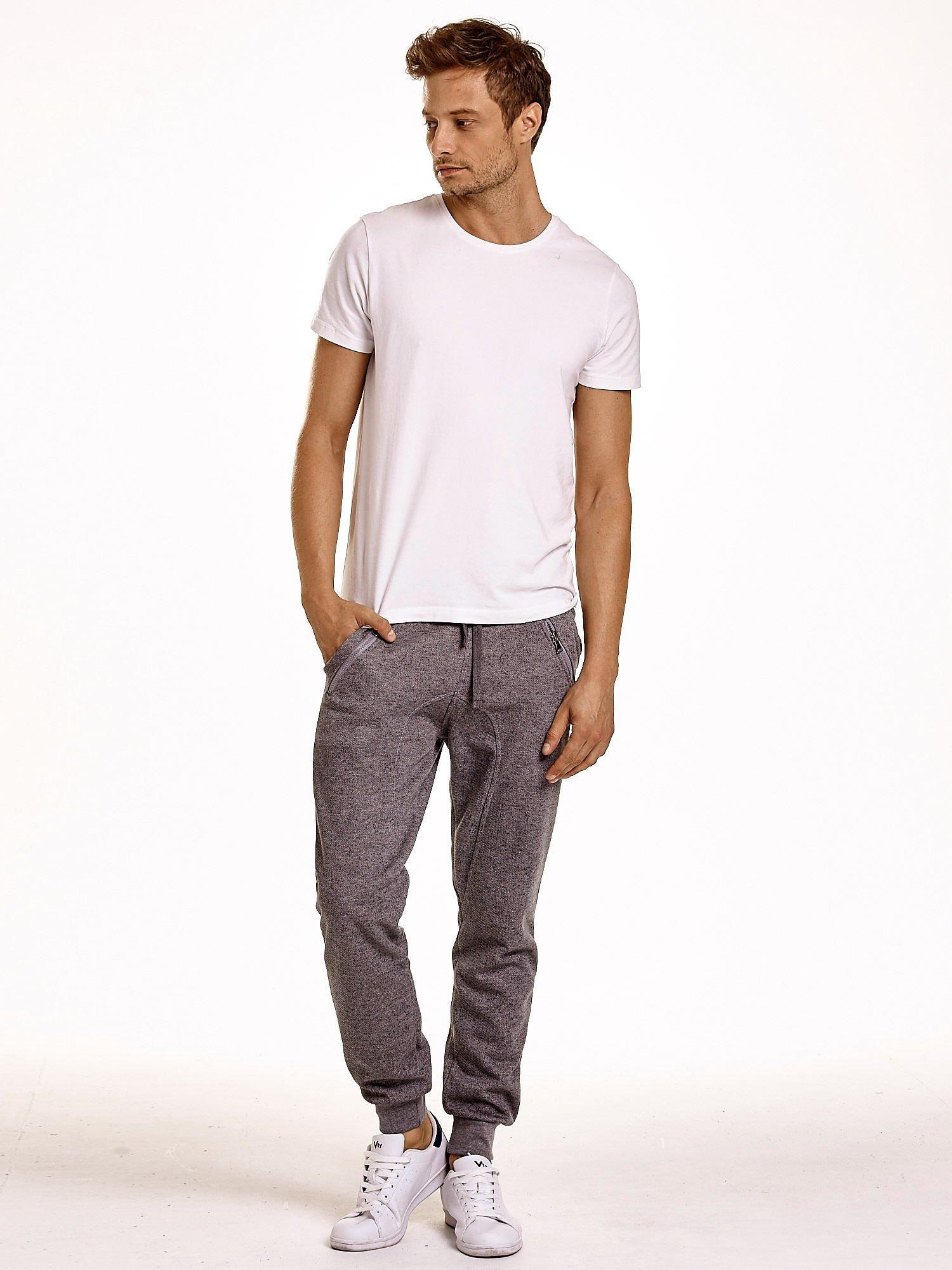 Szare melanżowe spodnie męskie z zasuwanymi kieszeniami                                  zdj.                                  3