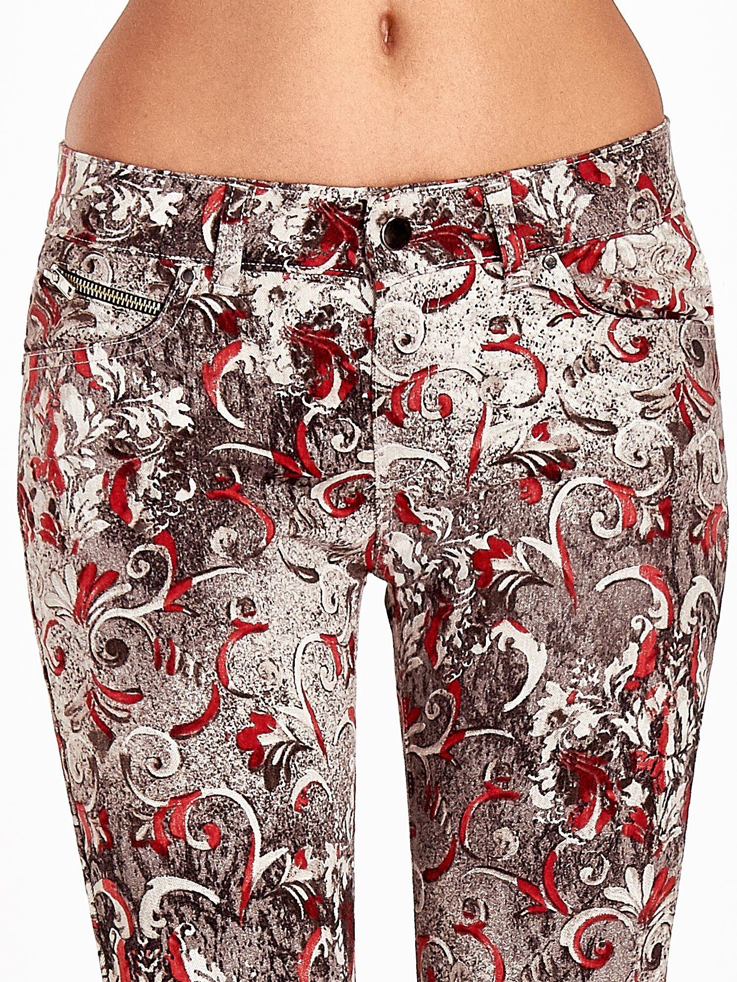 Szare spodnie skinny w kwiaty                                  zdj.                                  5