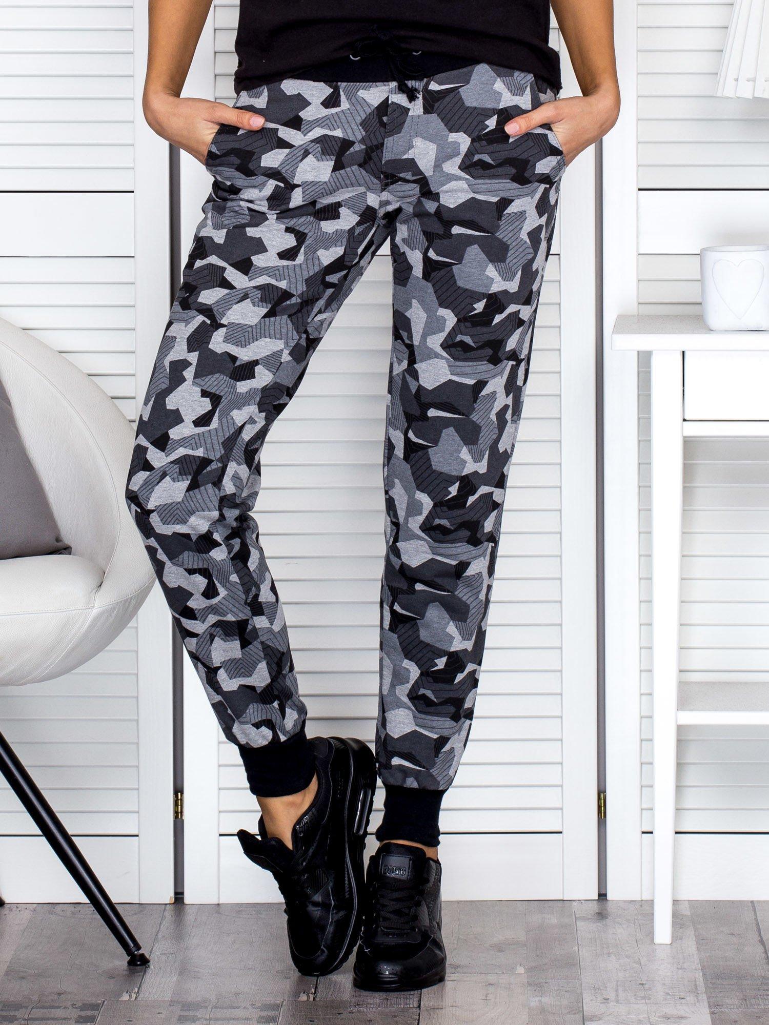 64fab37f Szare wzorzyste spodnie dresowe ze ściągaczami
