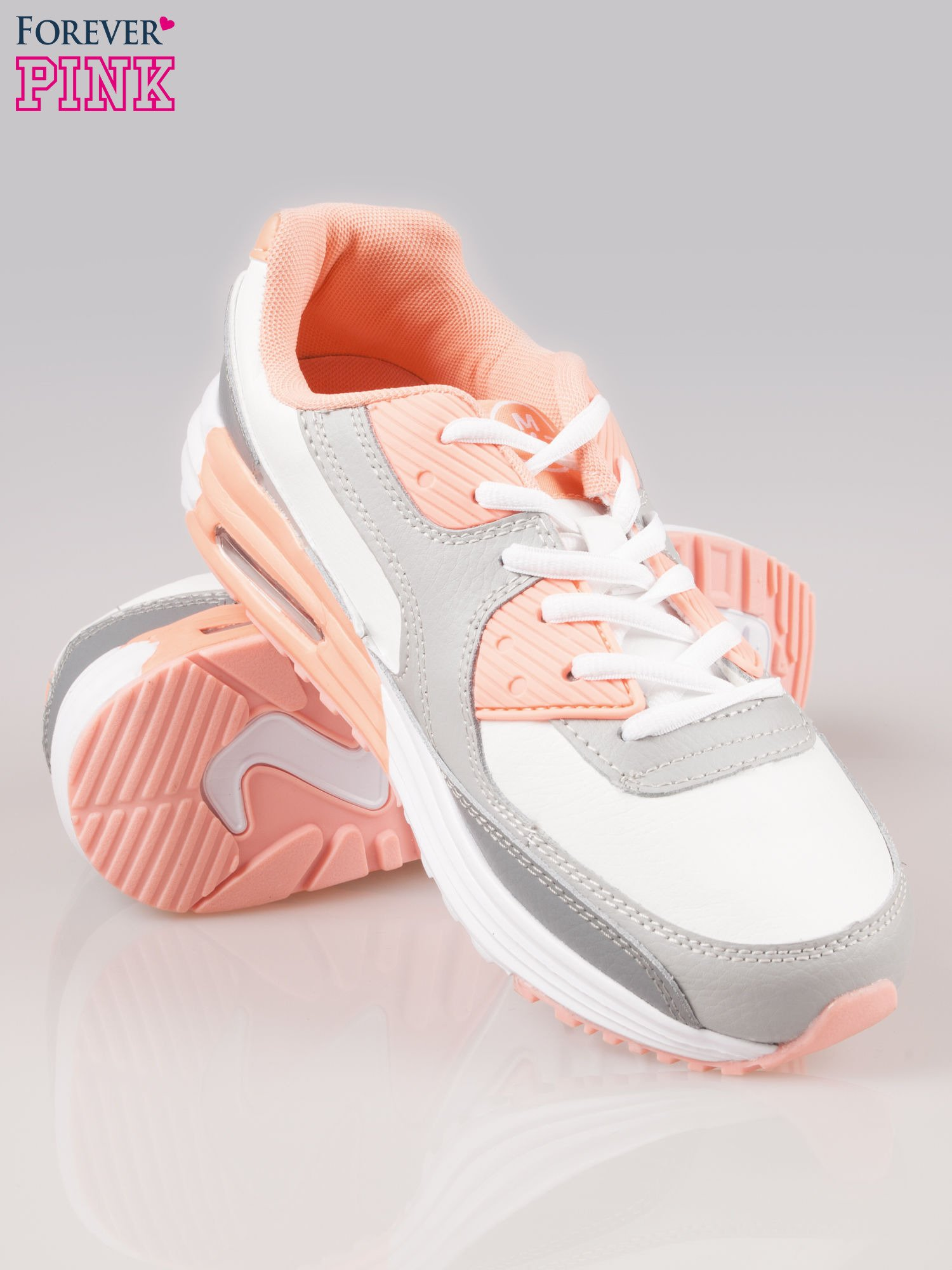 Szaro-pomarańczowe buty sportowe textile Make Up z poduszką powietrzną                                  zdj.                                  4