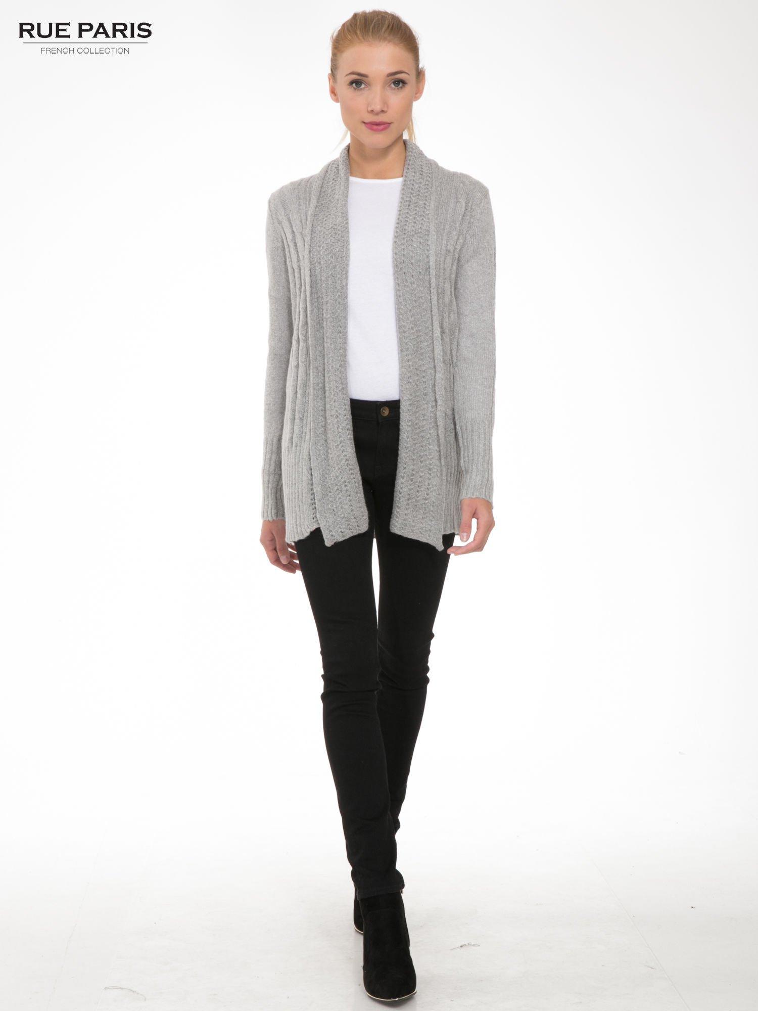 Szary ażurowy długi sweter typu kardigan                                  zdj.                                  2