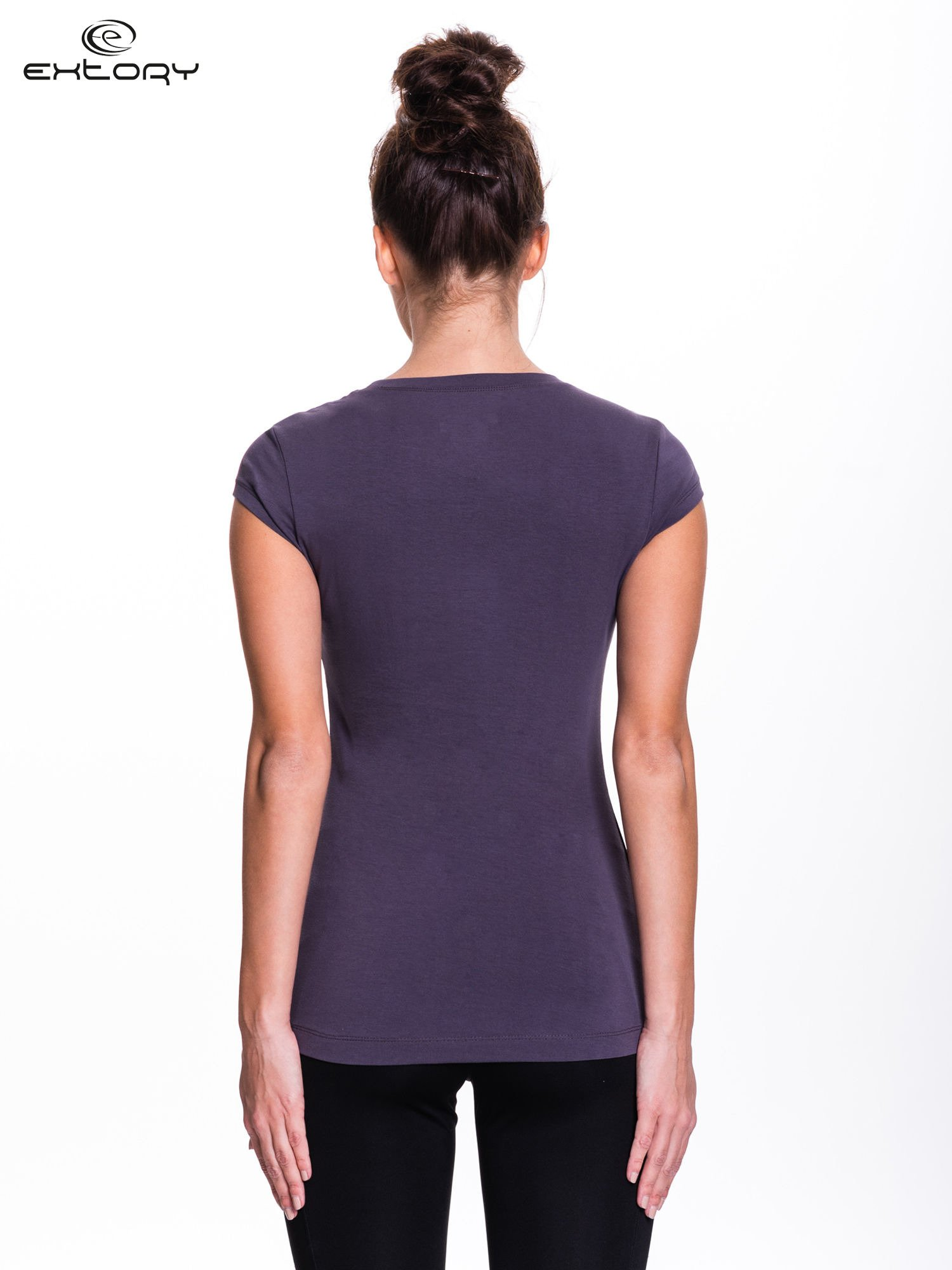 Szary damski t-shirt sportowy basic                                  zdj.                                  3