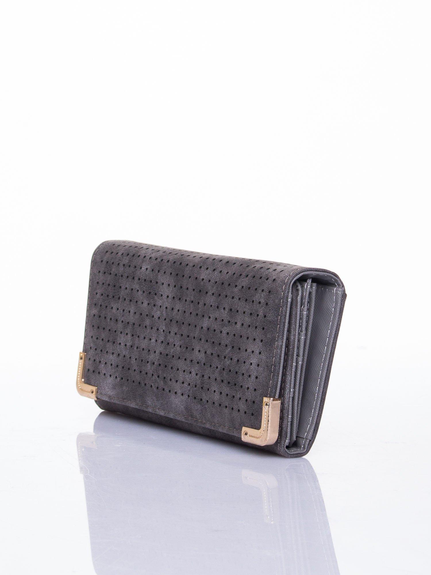 Szary dziurkowany portfel ze złotym wykończeniem                                  zdj.                                  3