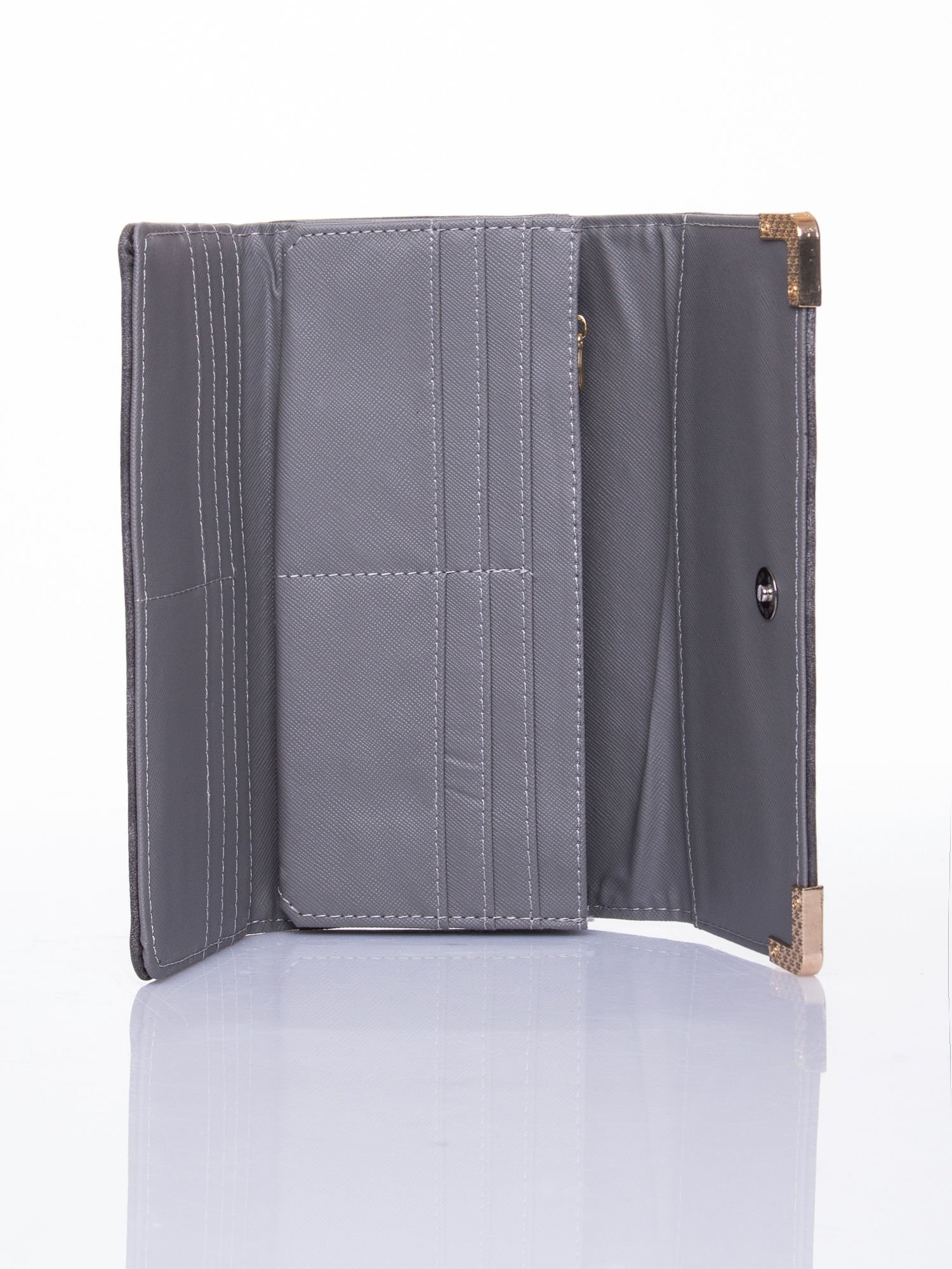 Szary dziurkowany portfel ze złotym wykończeniem                                  zdj.                                  4