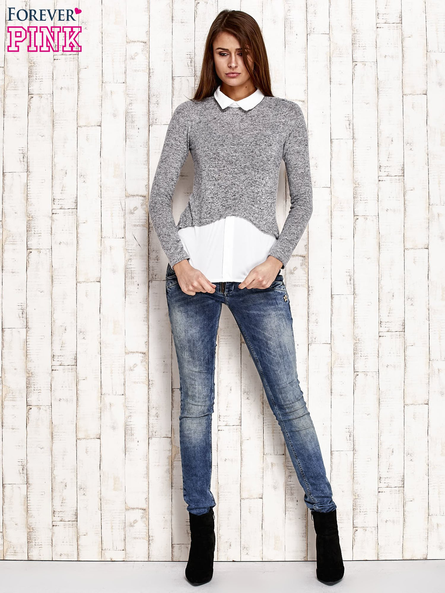 f141f2fd Ebutik Szary Z Klasyczny Melanżowy Sklep Sweter Koszulą pl wpgZxPpF