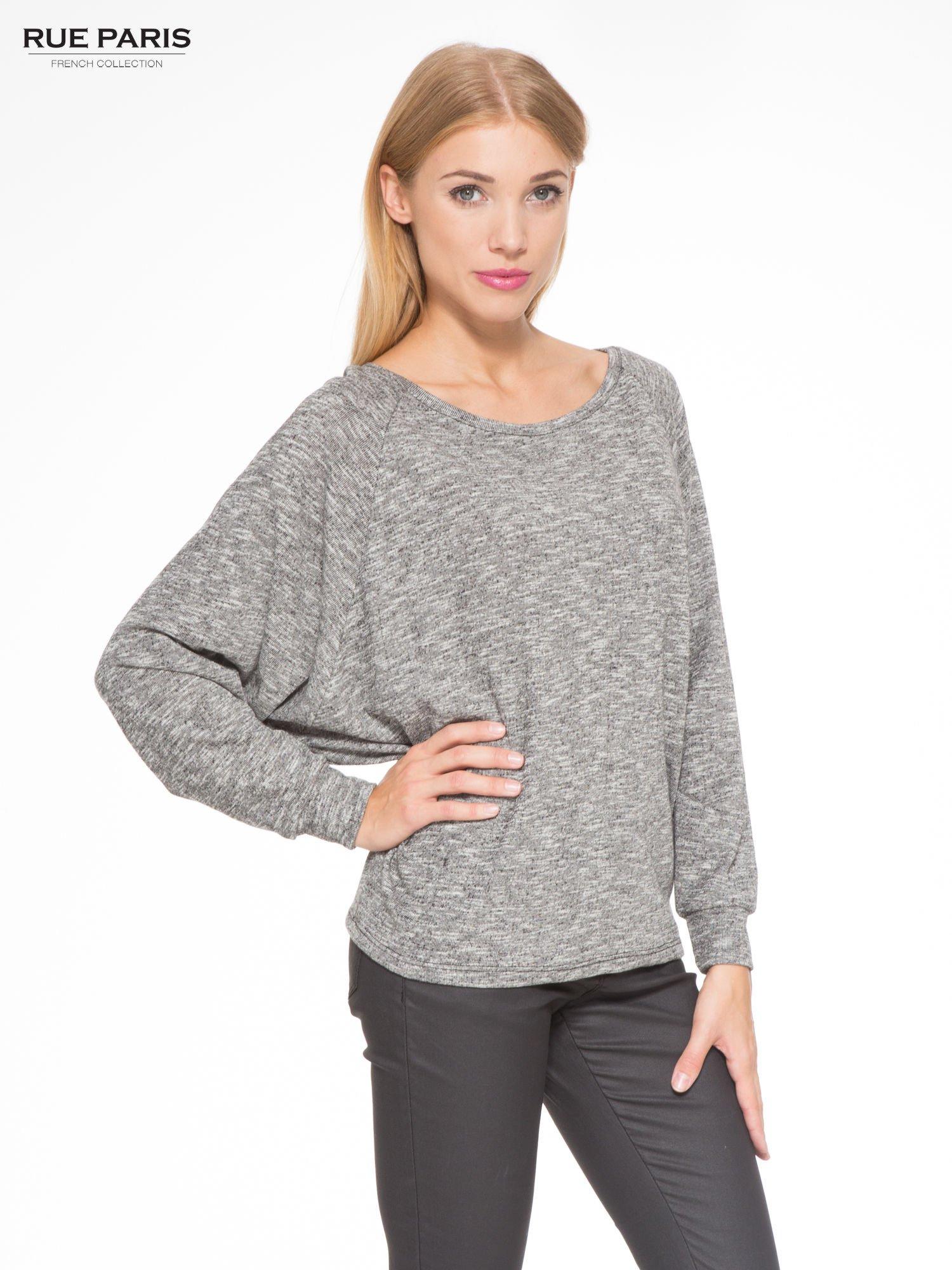 Szary melanżowy sweter z nietoperzowymi rękawami                                  zdj.                                  1