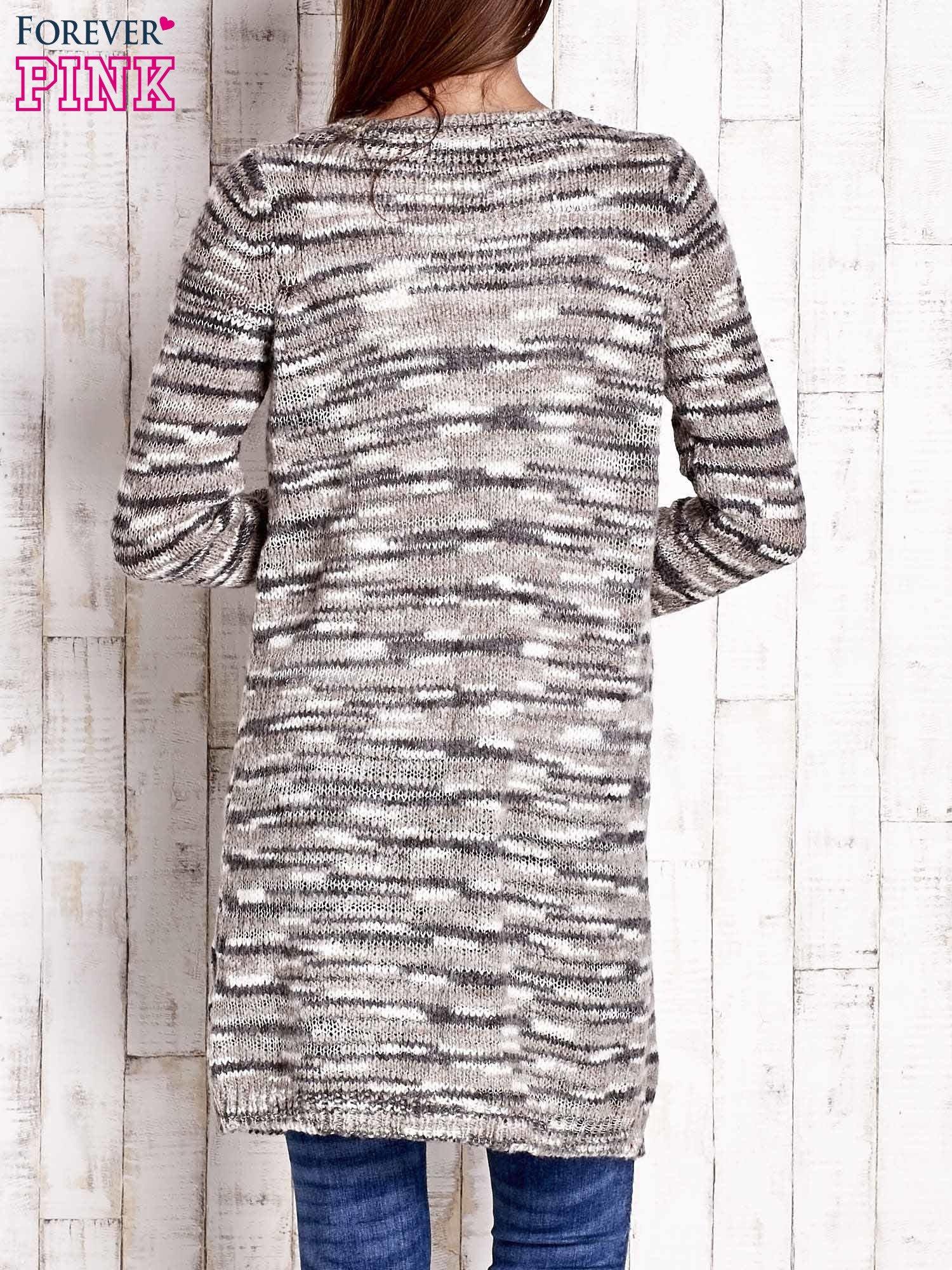 Szary otwarty melanżowy sweter                                   zdj.                                  4