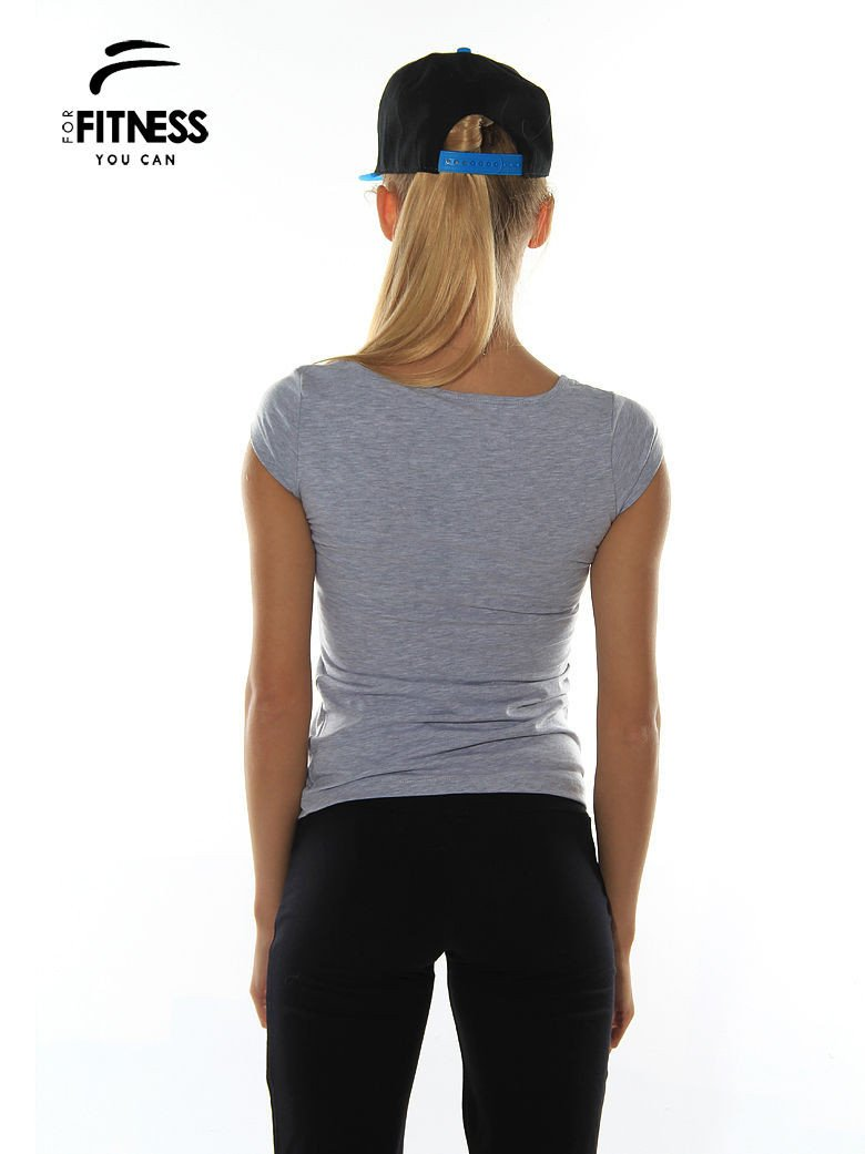 Szary prosty t-shirt For Fitness                                  zdj.                                  3