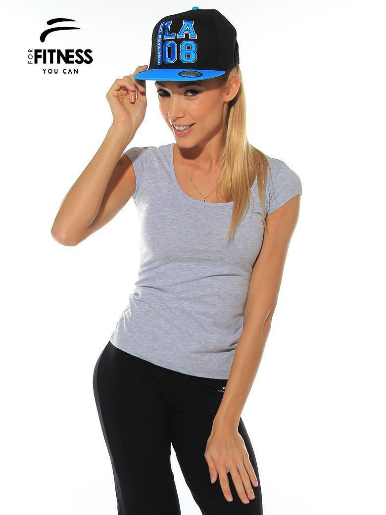 Szary prosty t-shirt sportowy                                  zdj.                                  2