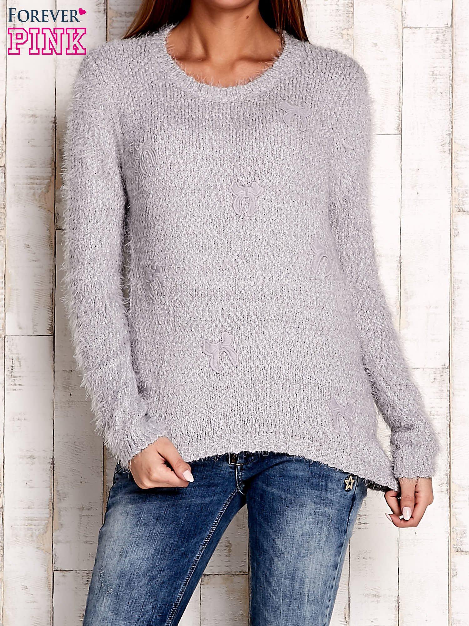 Szary sweter long hair z kokardkami                                  zdj.                                  1