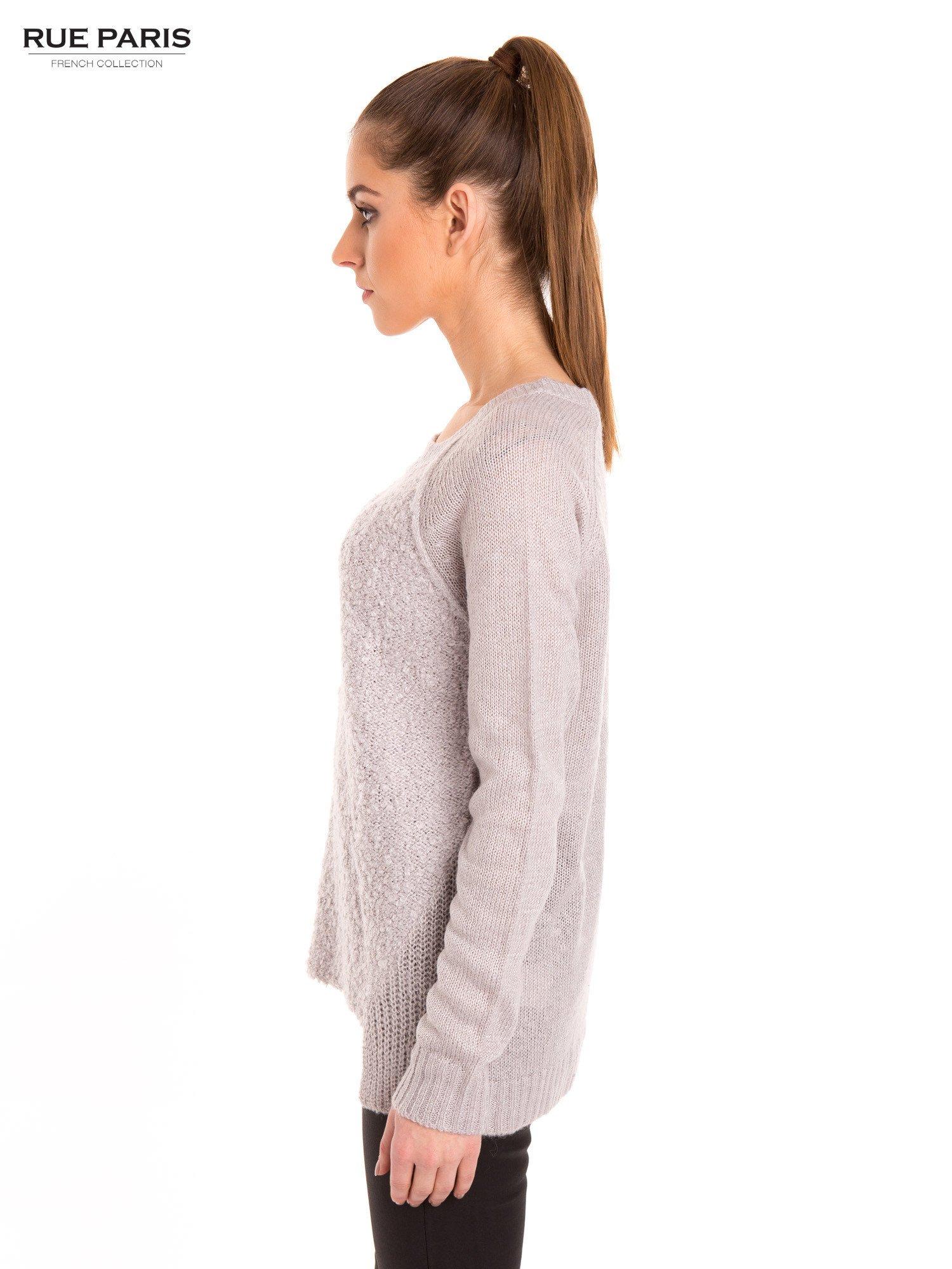 Szary sweter z dłuższym tyłem                                  zdj.                                  3