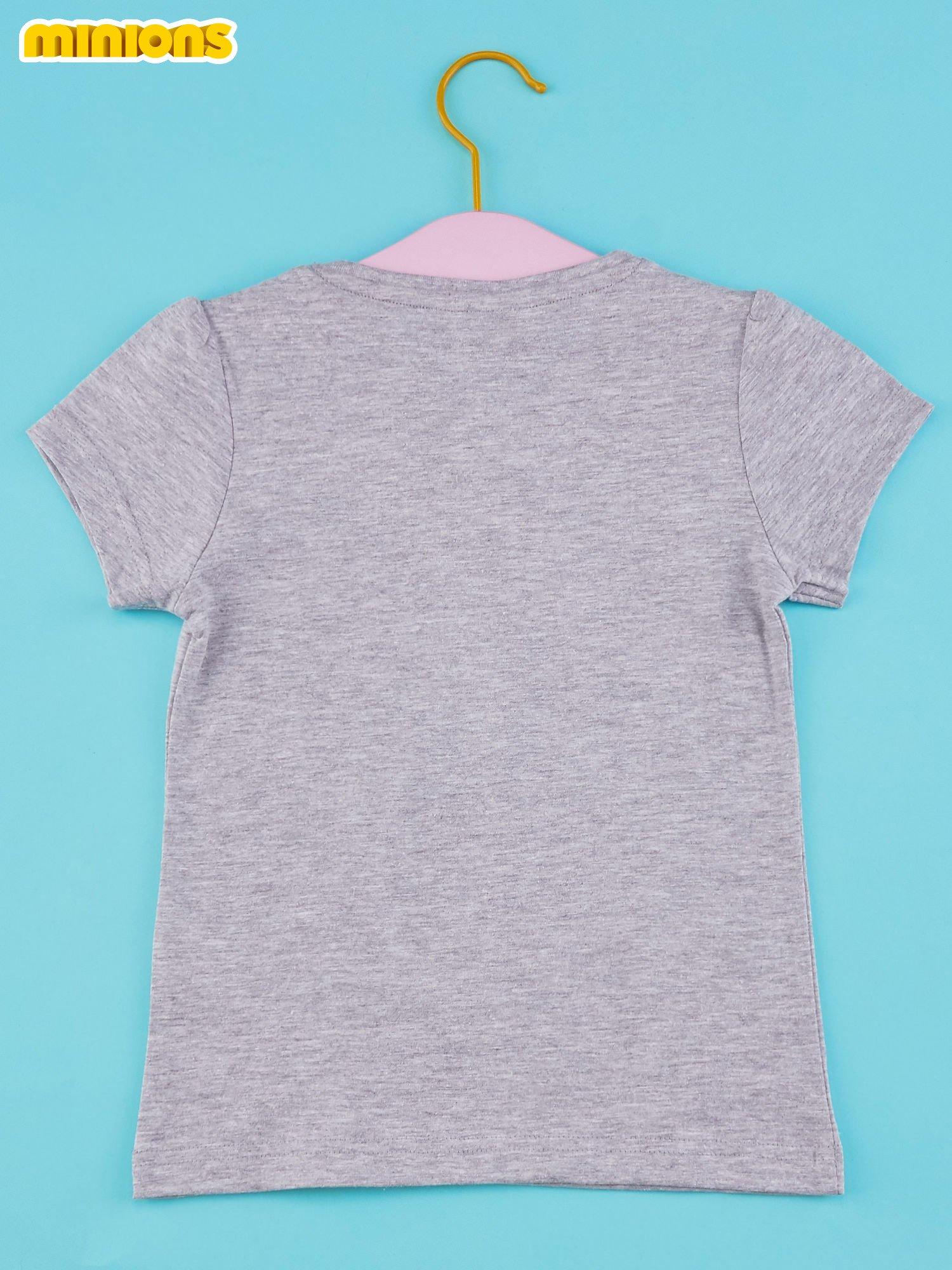 Szary t-shirt dla dziewczynki MINIONKI z cekinami                                  zdj.                                  2