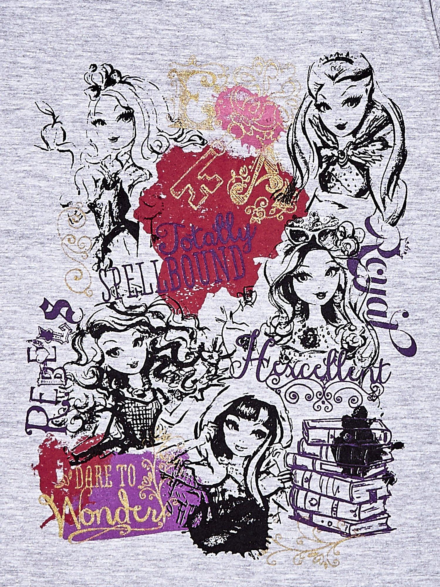 Szary t-shirt dla dziewczynki z nadrukiem EVER AFTER HIGH                                  zdj.                                  4